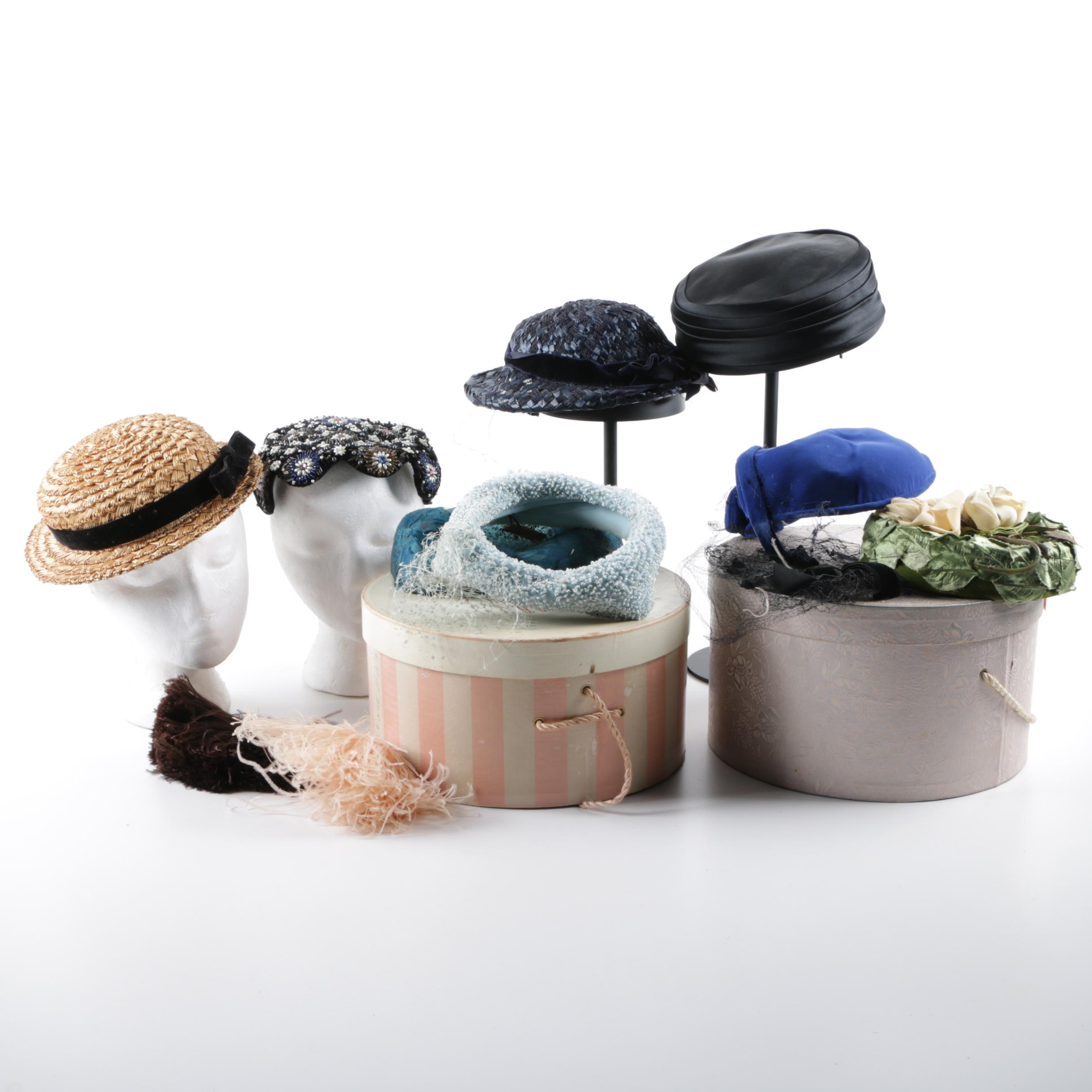 Vintage Hats Including Pillbox and Fascinator Including Norma Durand