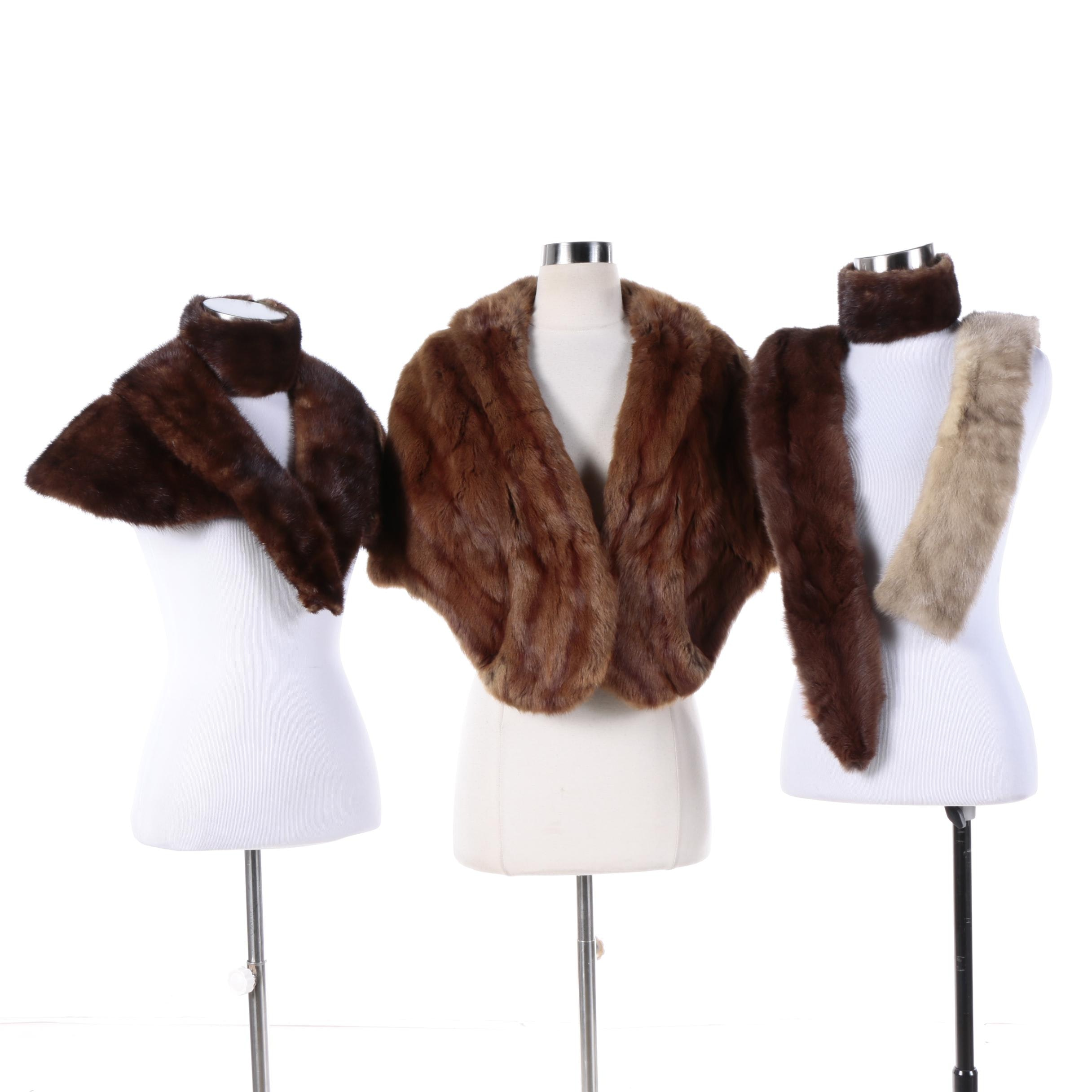 Squirrel, Marten and Mink Fur Stoles, Collars and Cuffs