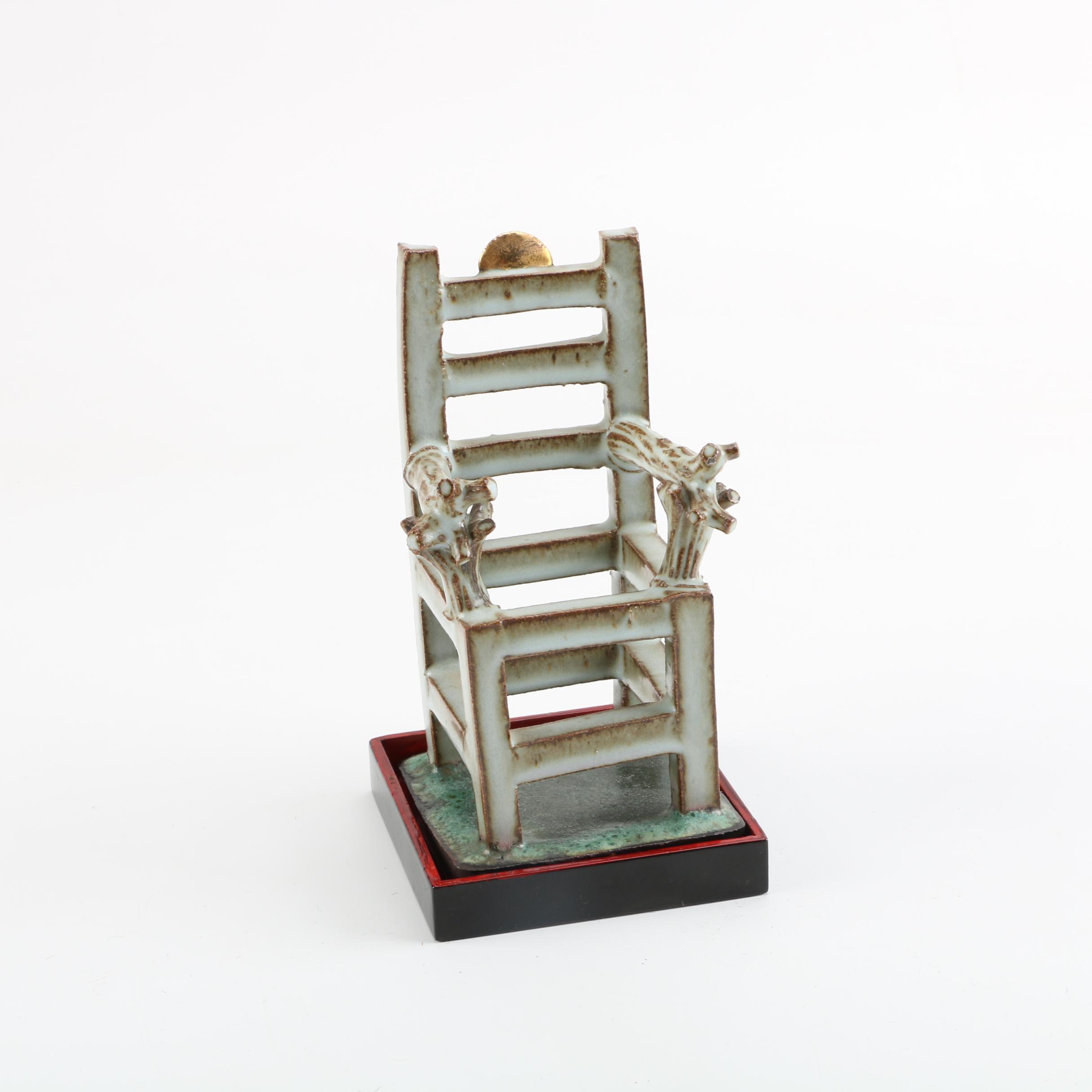 Handbuilt Stoneware Miniature Chair Sculpture
