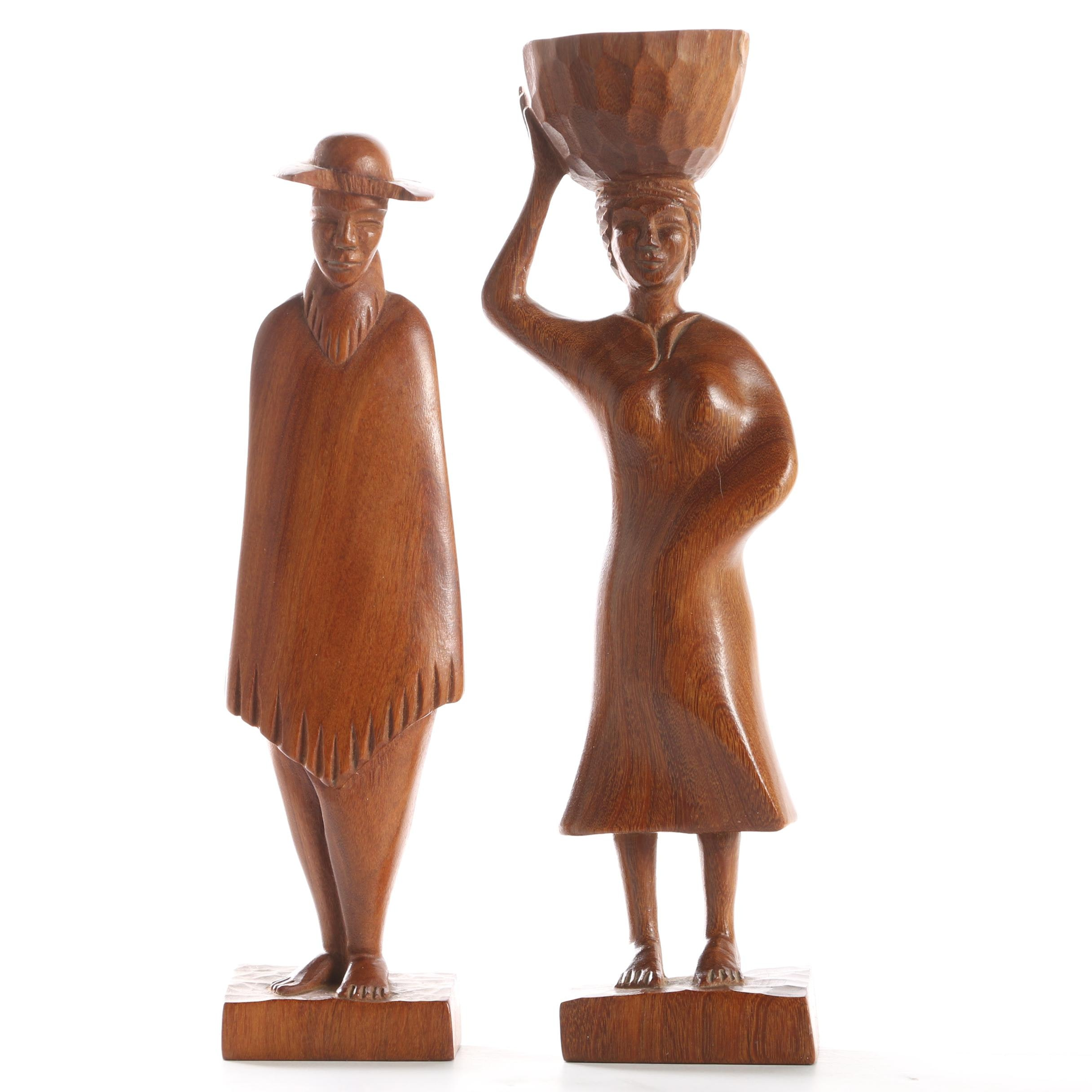 Two Hand-Carved Paraguayan Wooden Sculpture Figures
