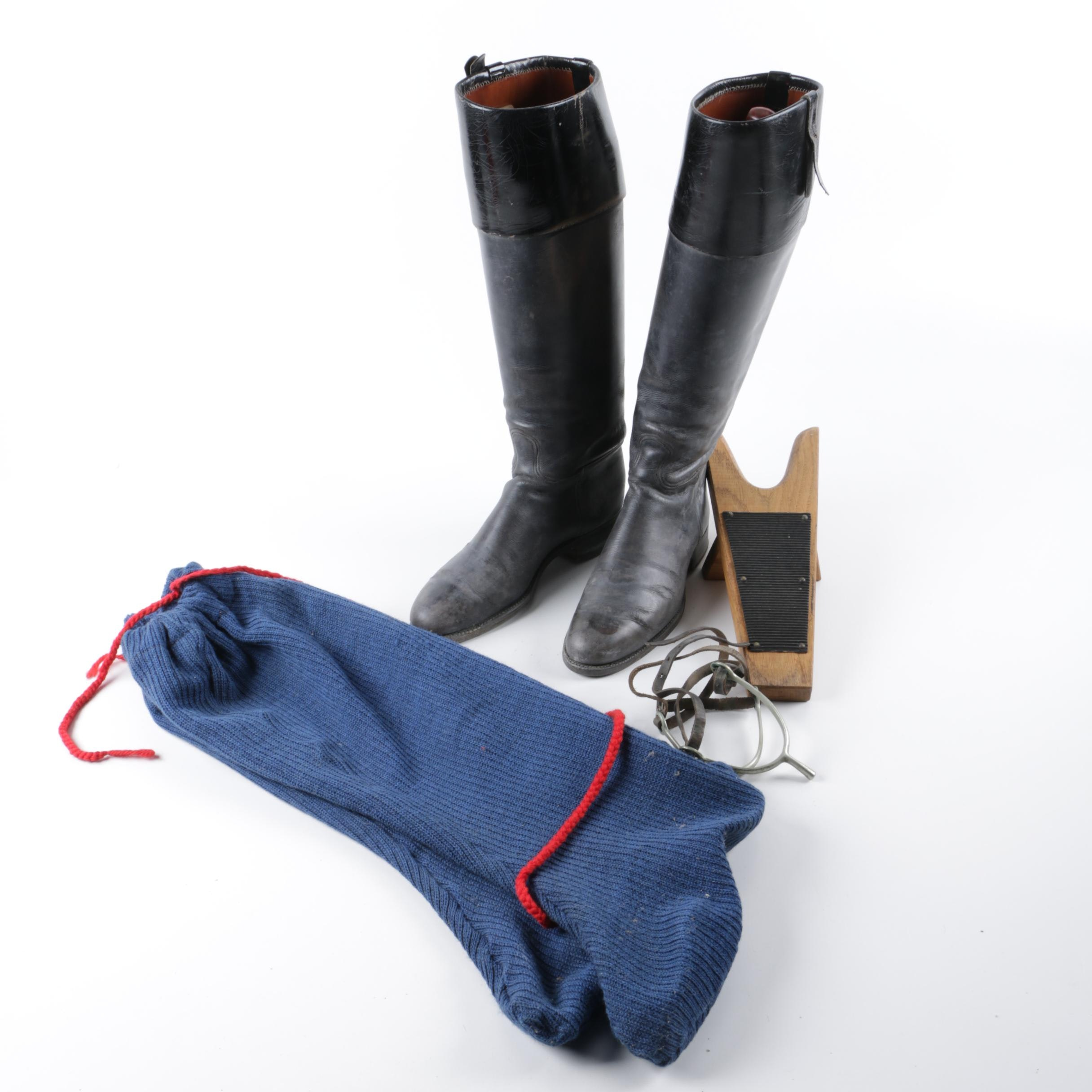 Women's Miller Craft Black Riding Boots with Dust Covers