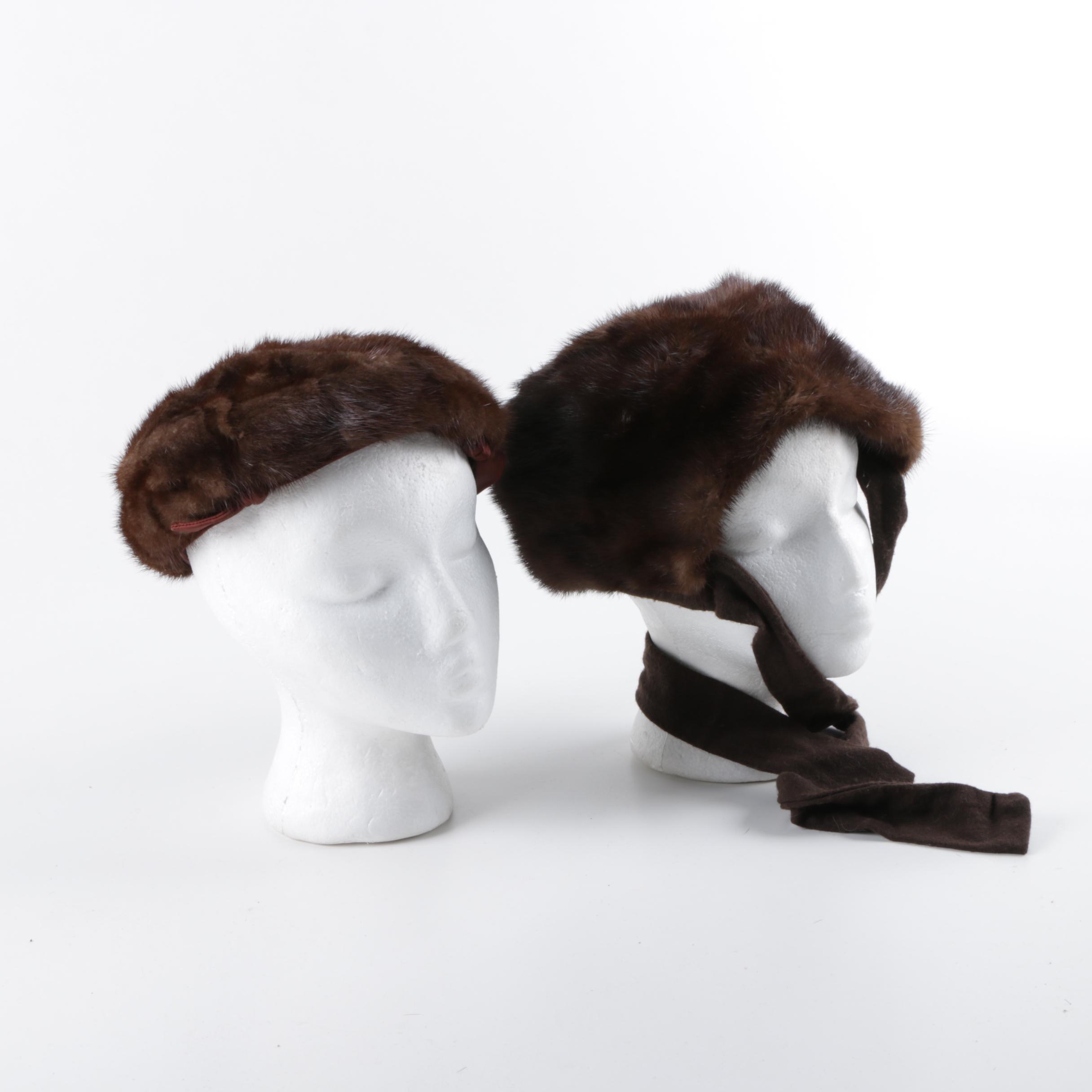 Vintage Brown Mink Fur Hats