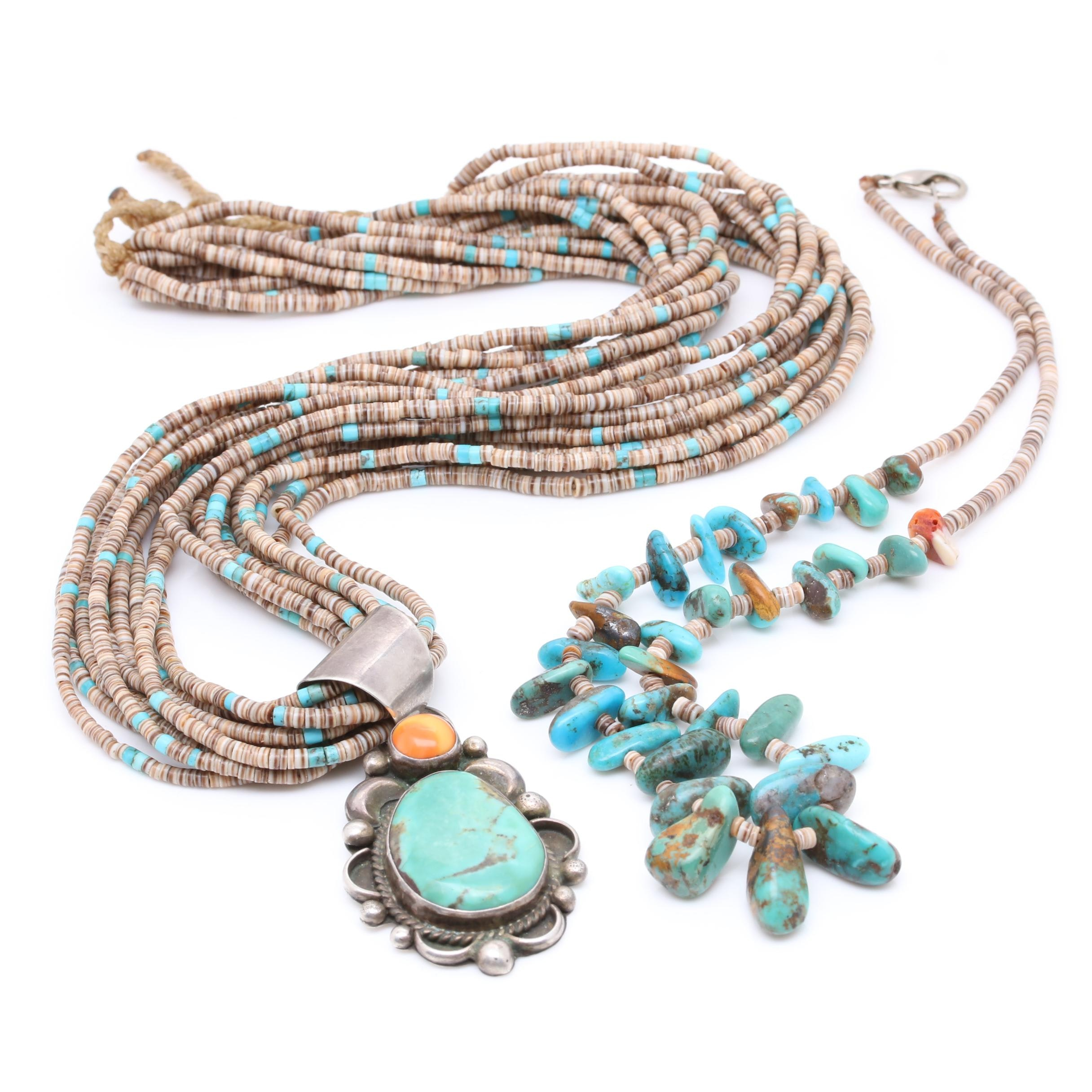 Turquoise and Shell Necklaces Including Albert MacCabe Navajo Diné Sterling