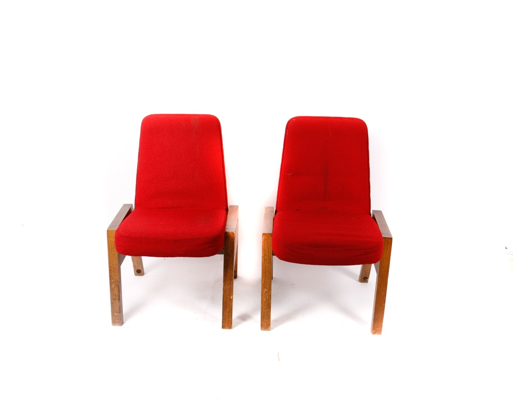 Mid-Century Red Upholstered Church Chairs by Overholtzer Church Furniture