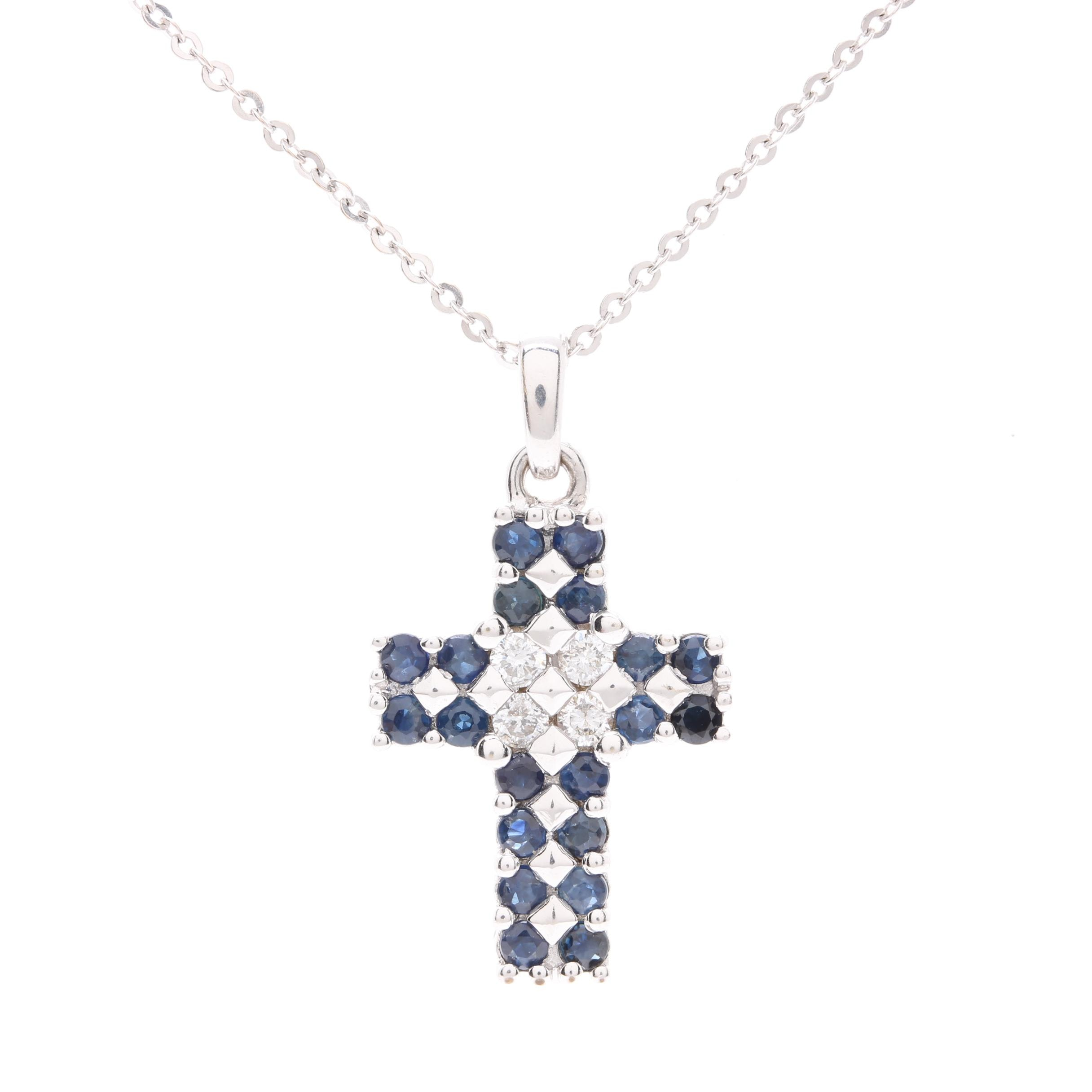 18K White Gold Diamond and Sapphire Cross Pendant Necklace