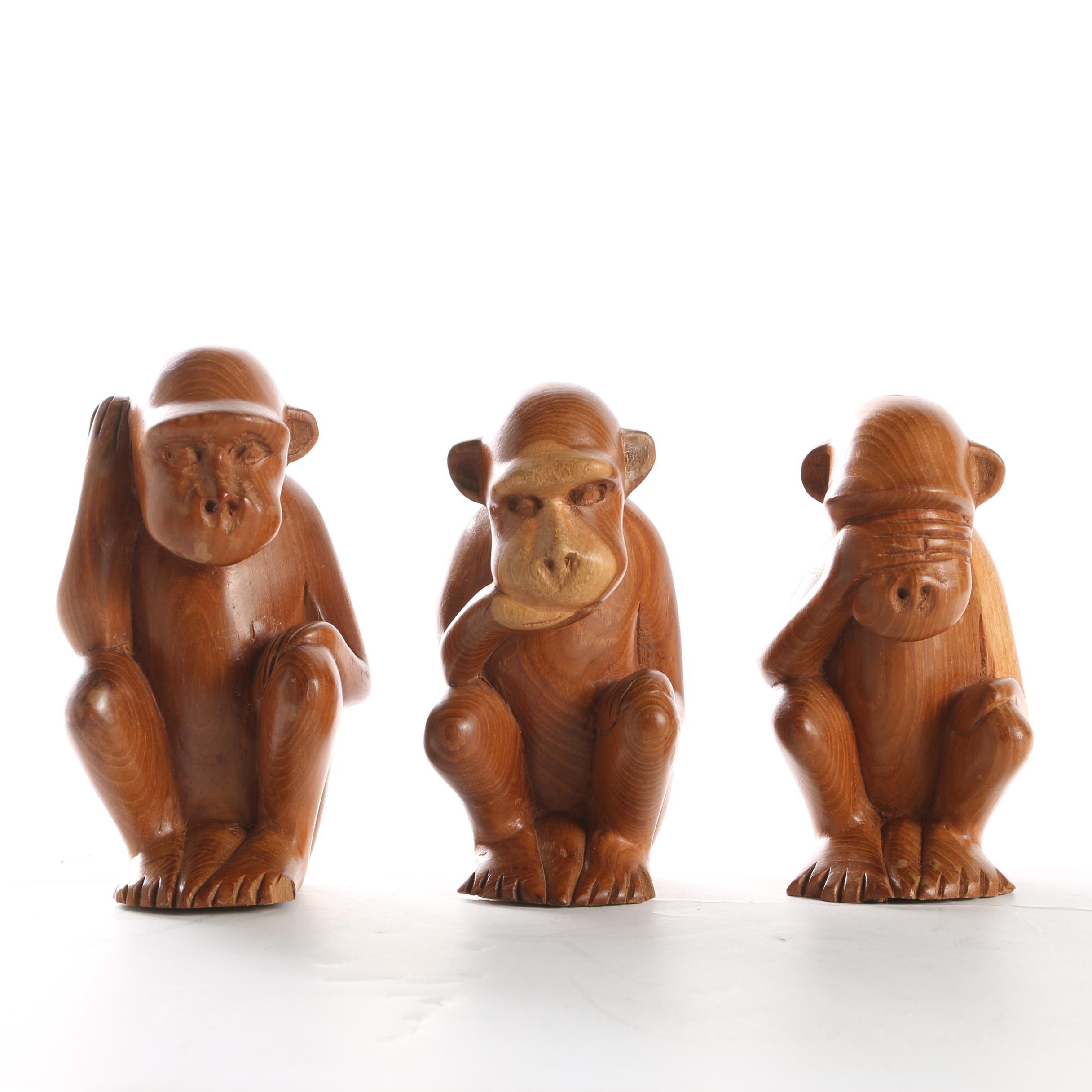 Carved Wooden Monkeys