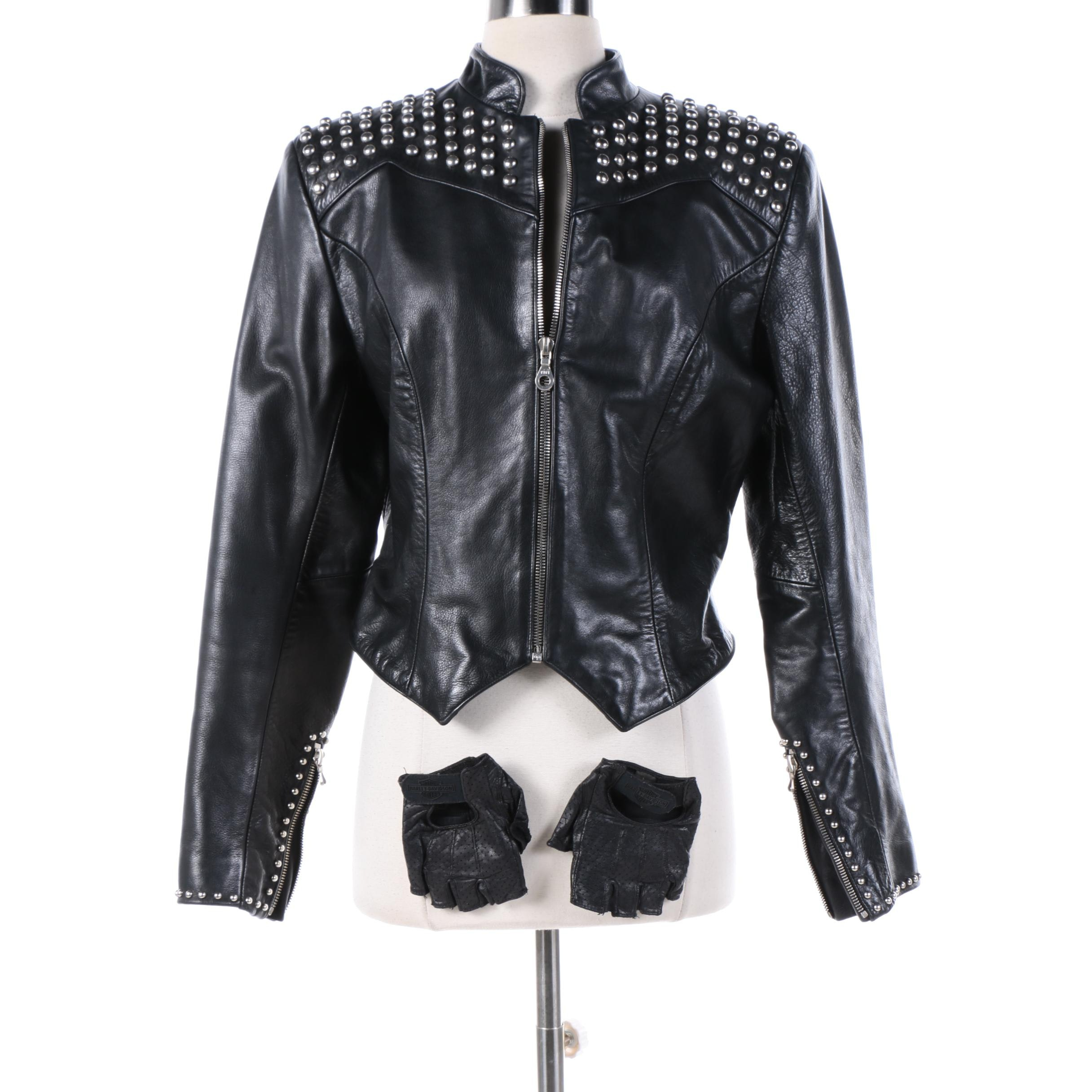 Women's Milwaukee Clothing Co. Studded Black Leather Jacket and Gloves