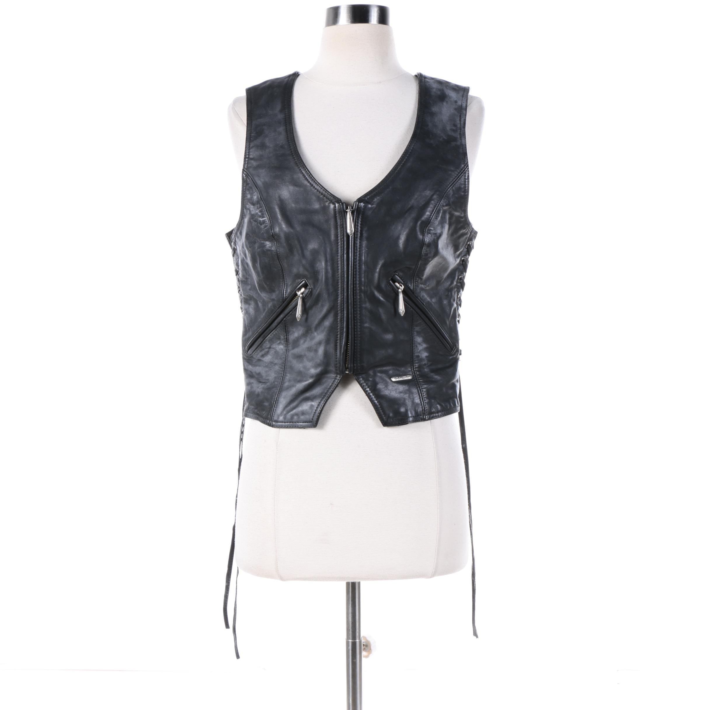 Women's Harley-Davidson Black Leather Vest with Lace-Up Details