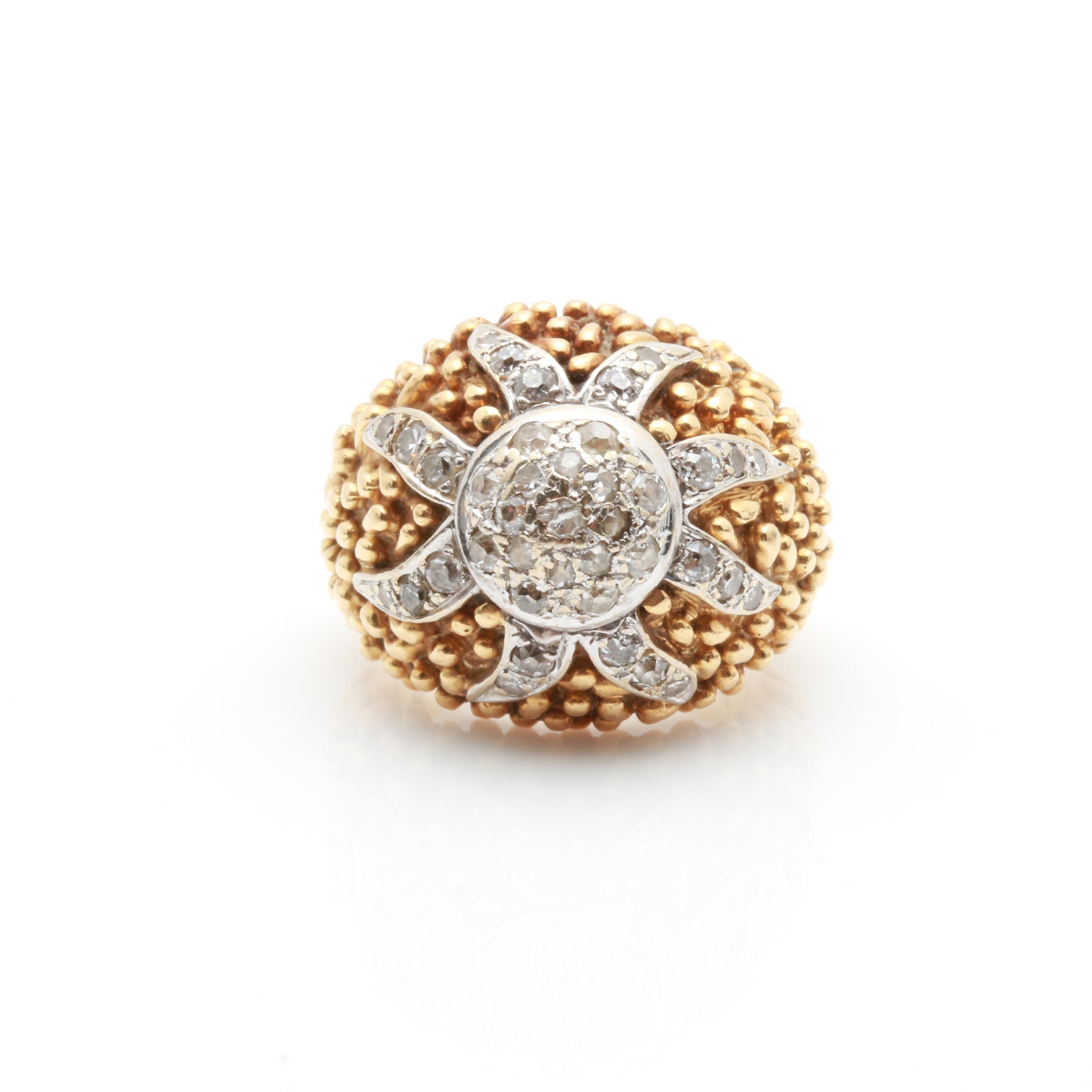 Vintage 18K Yellow And White Gold Diamond Bombé Ring