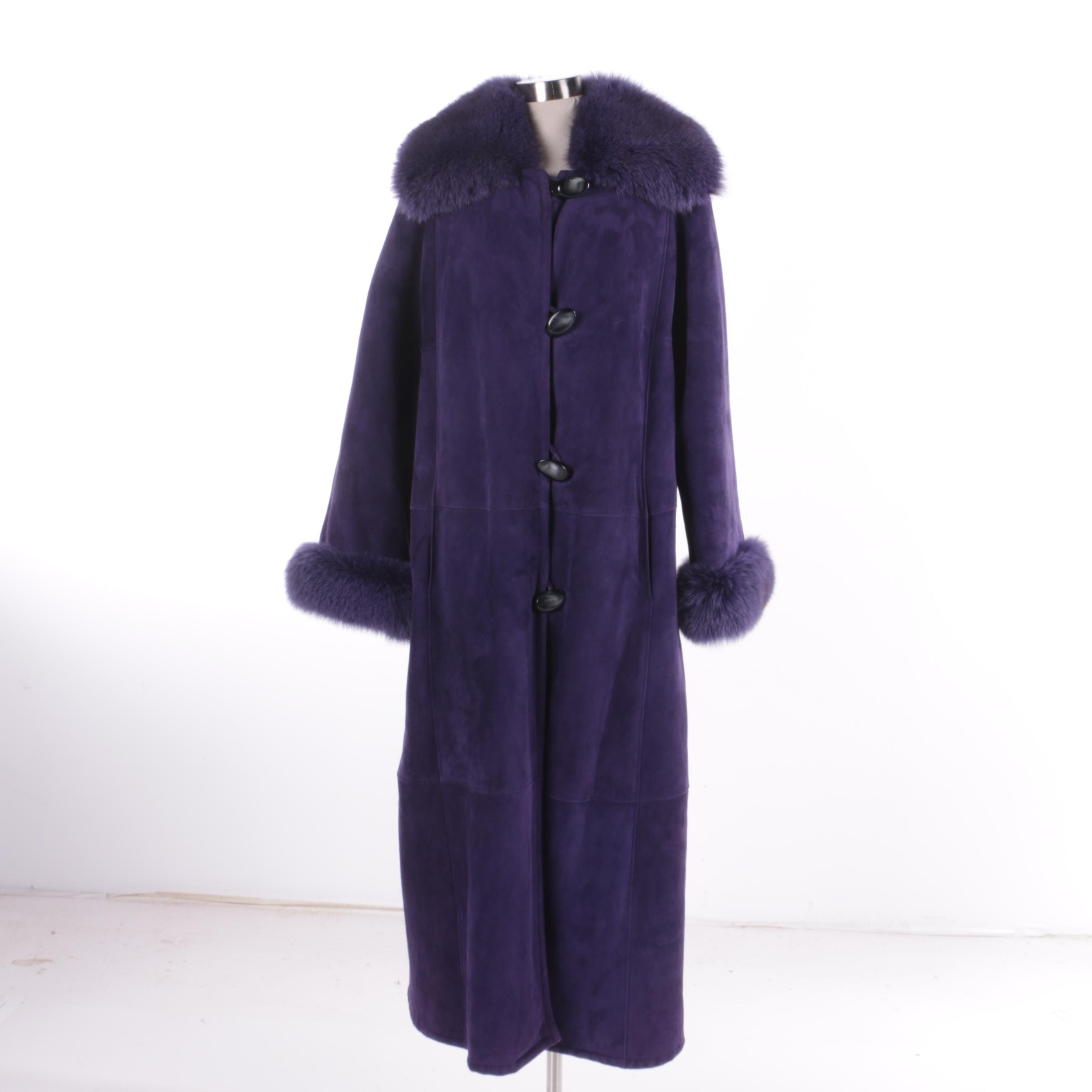 Women's Purple Suede and Dyed Fox Fur Coat