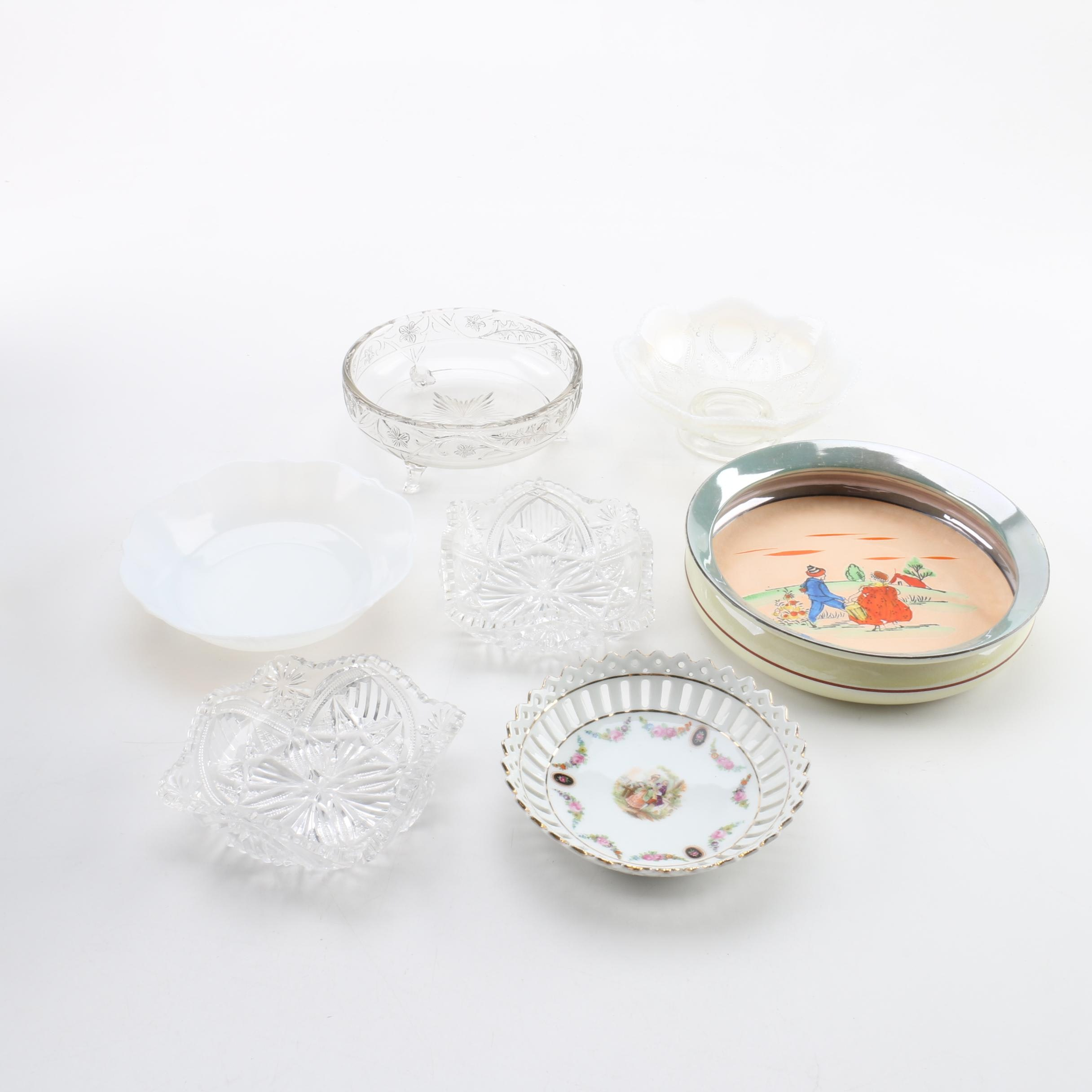 Assortment of Decorative Porcelain and Glass Bowls