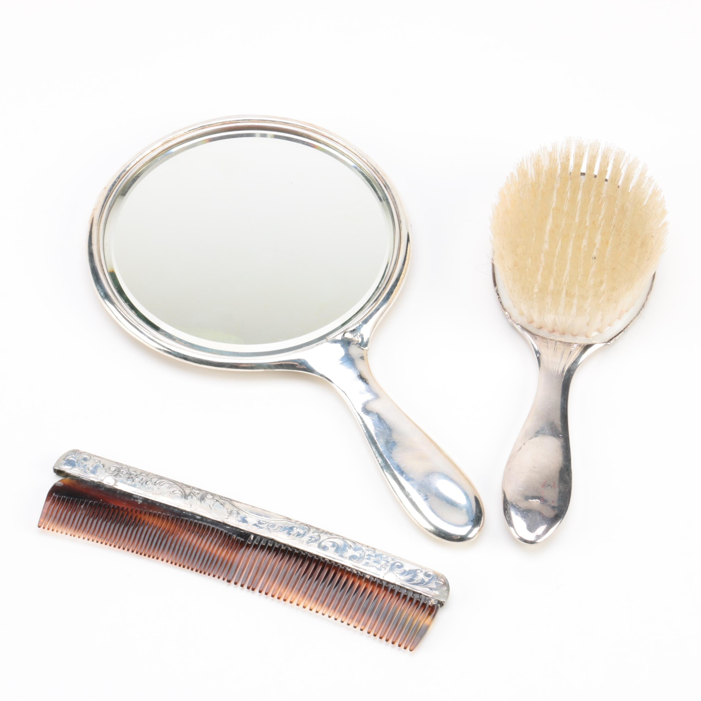 Homan Mfg. Co. Chased Silver Plate Vanity Accessory Set