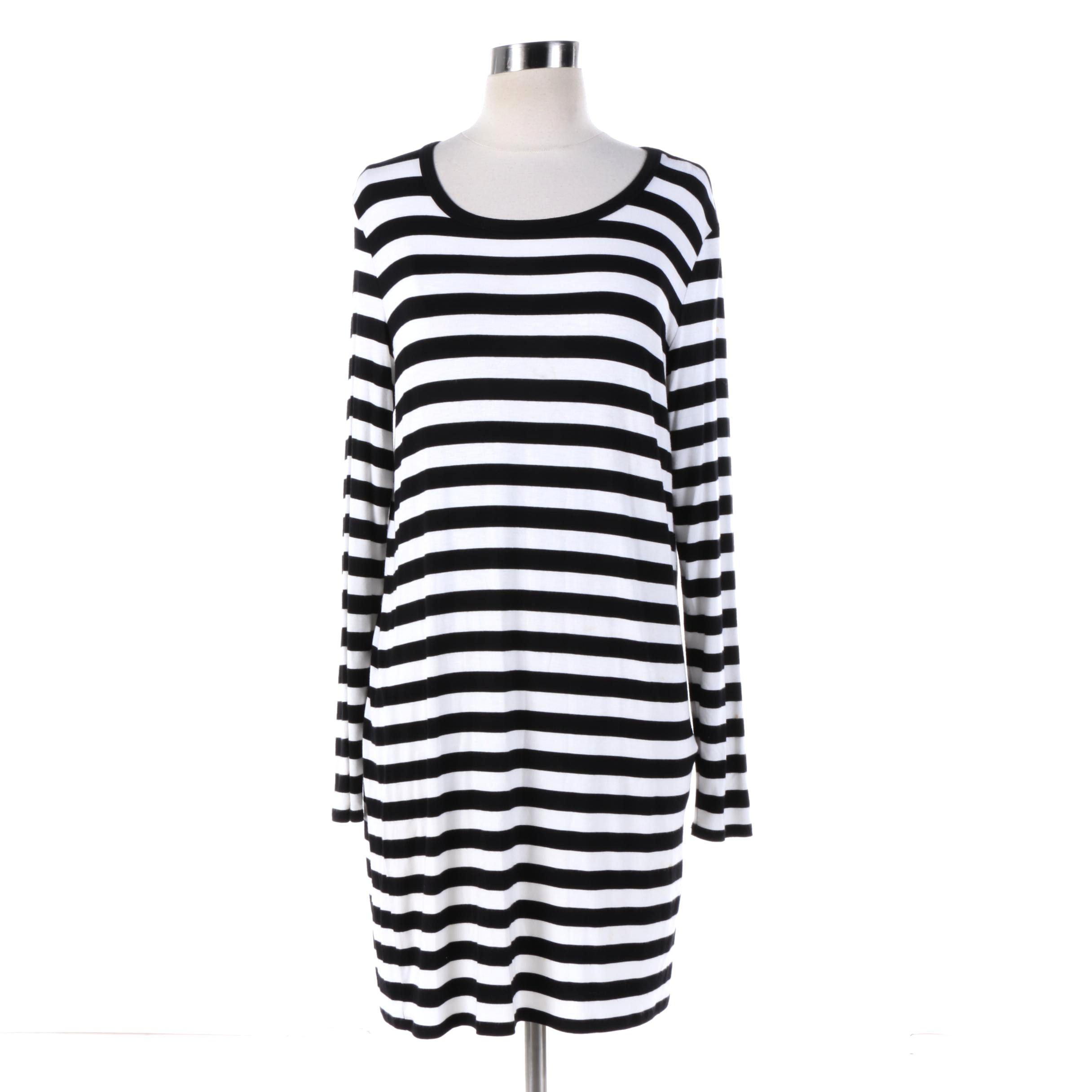 Women's Michael Michael Kors Black and White Striped Shirt Dress