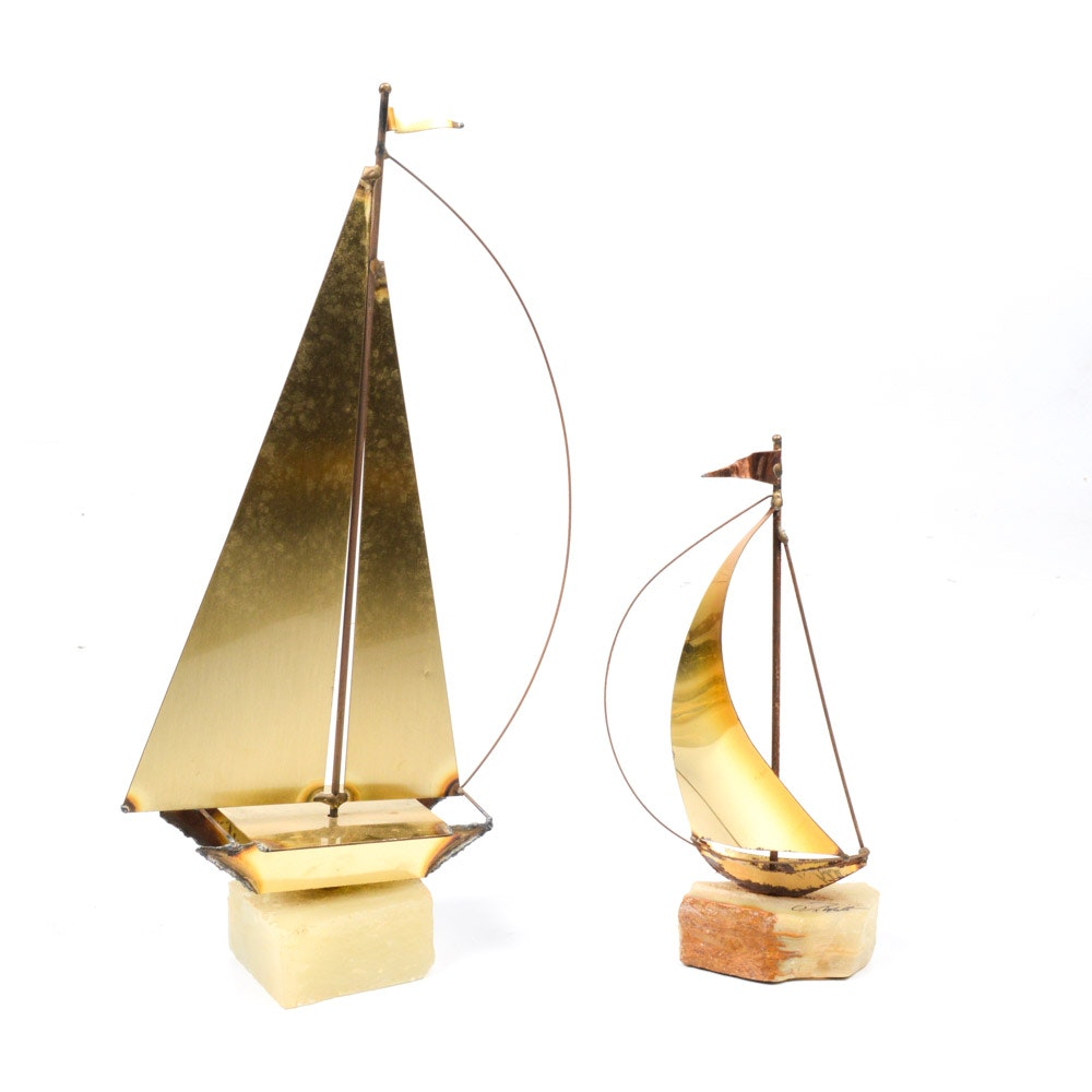 Vintage Metal Sailboat Sculptures