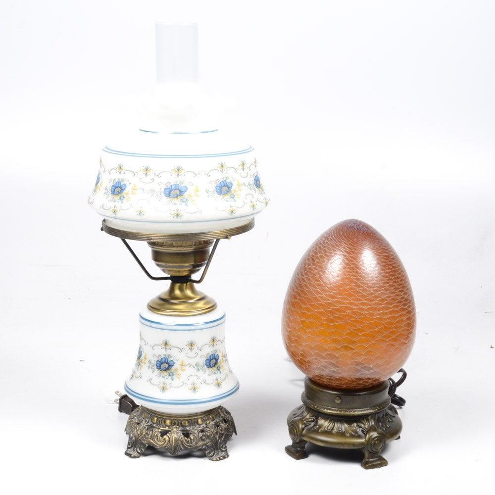 Vintage and Hand-Blown Glass Table Lamps
