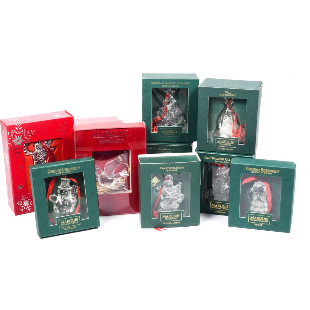 Waterford Crystal and Silver Plated Christmas Tree Ornaments