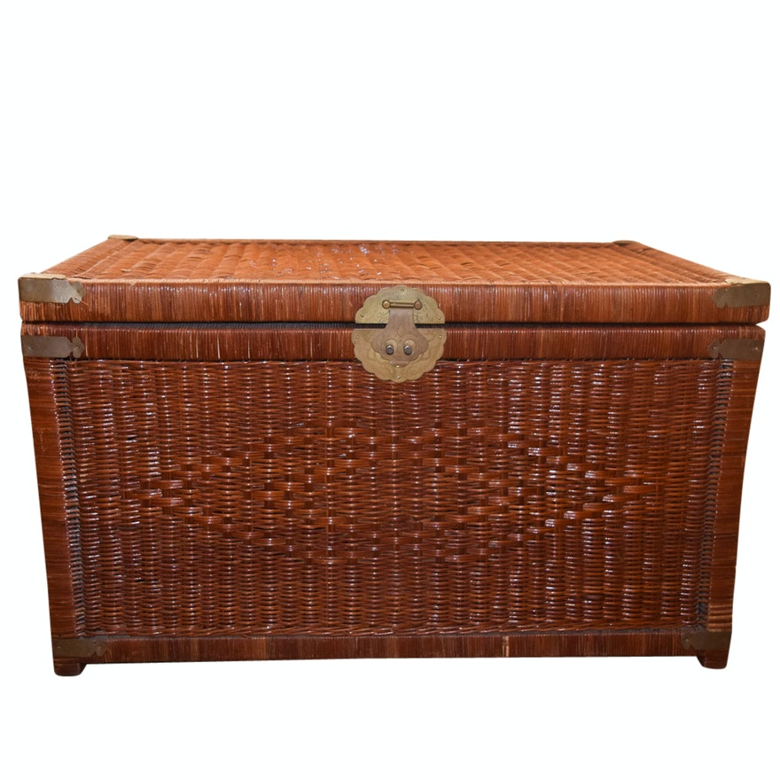 Vintage Wicker Storage Trunk With Asian Style Hardware