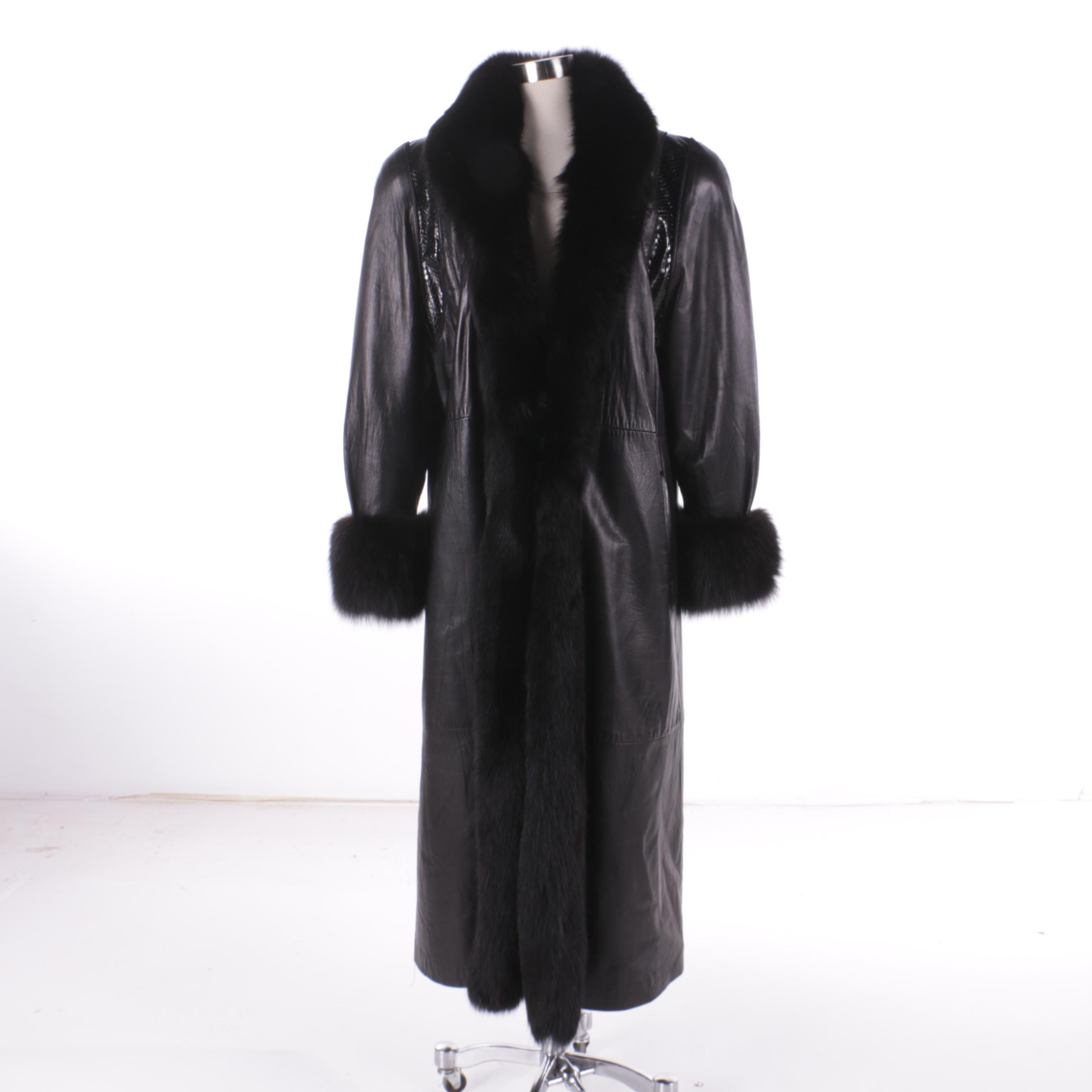 Women's Insulated Black Leather Coat with Fox Fur and Snakeskin Details