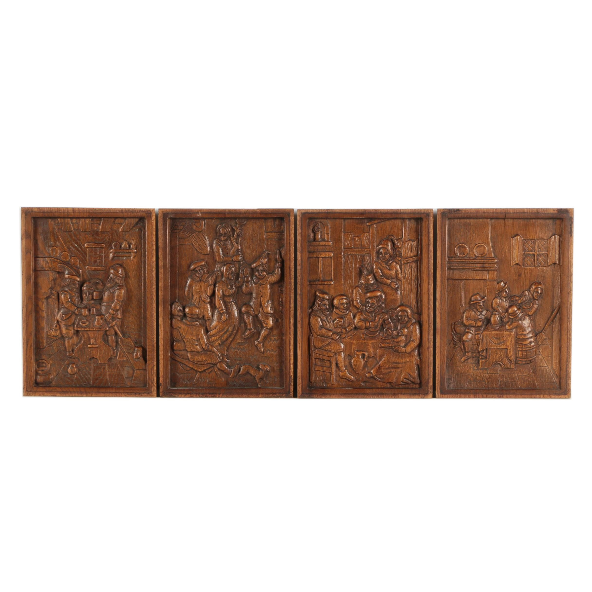 Carved Relief Panels of Tavern Scenes