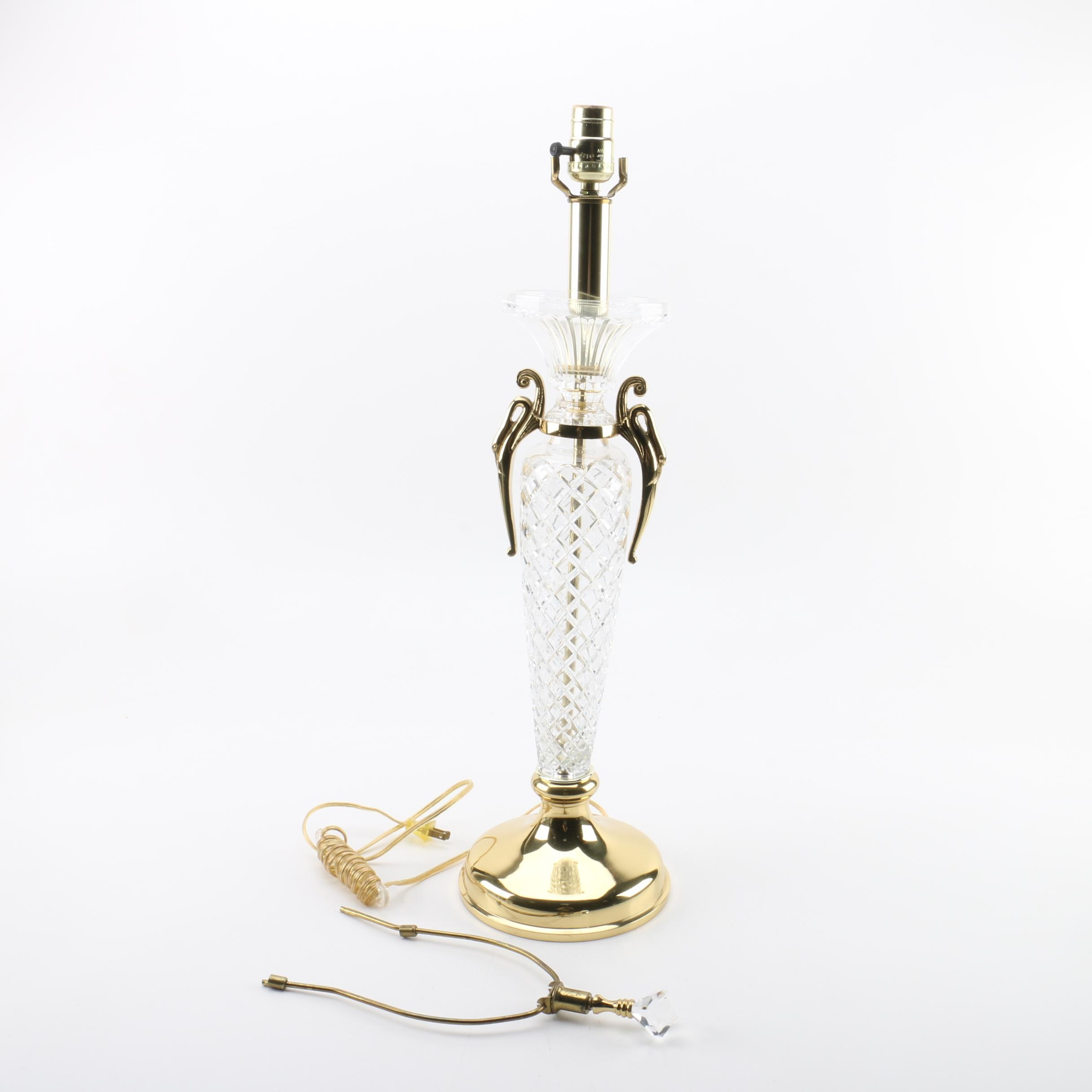 Crystal and Brass Urn Style Table Lamp