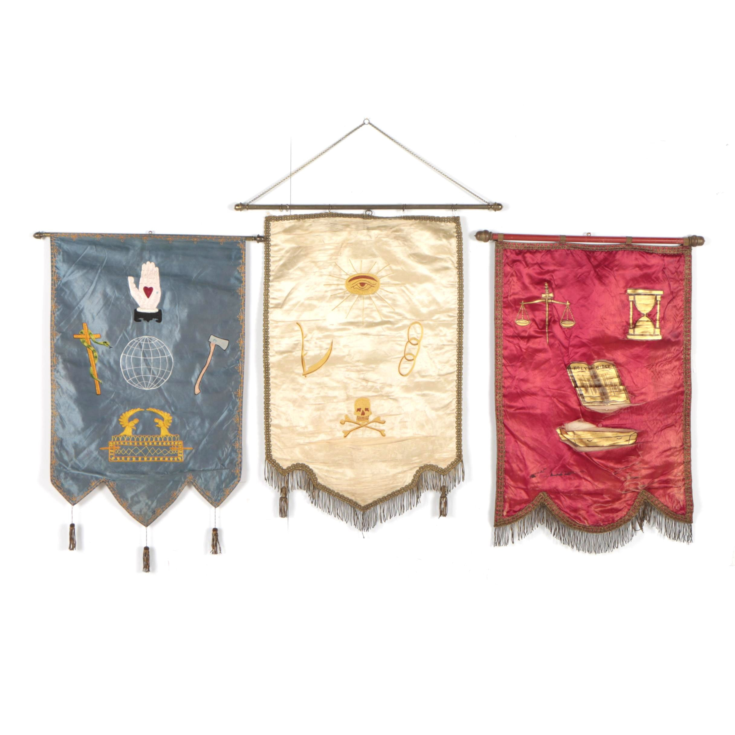 Vintage Odd Fellows Hanging Silk Banners with Embroidered Designs