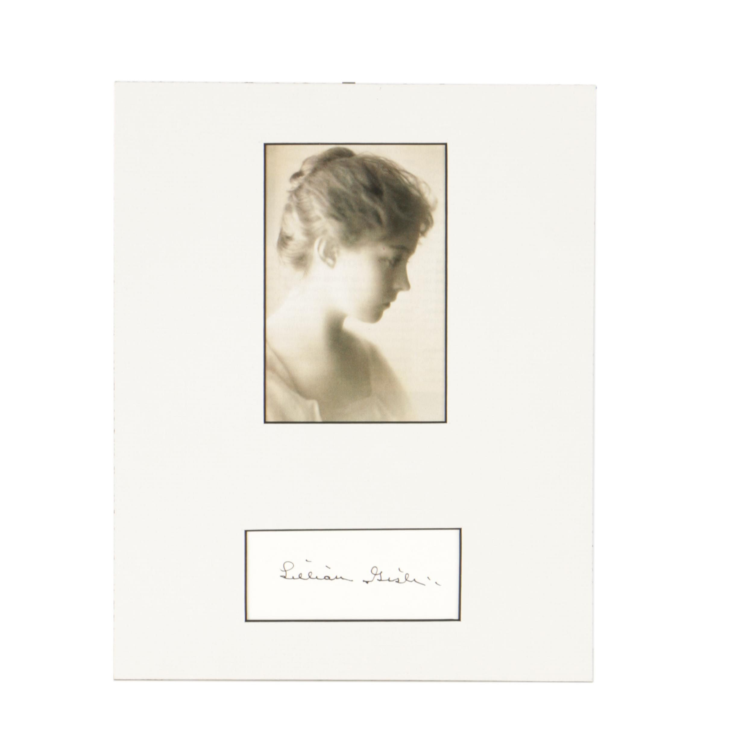 Lillian Gish Autographed Card with Print