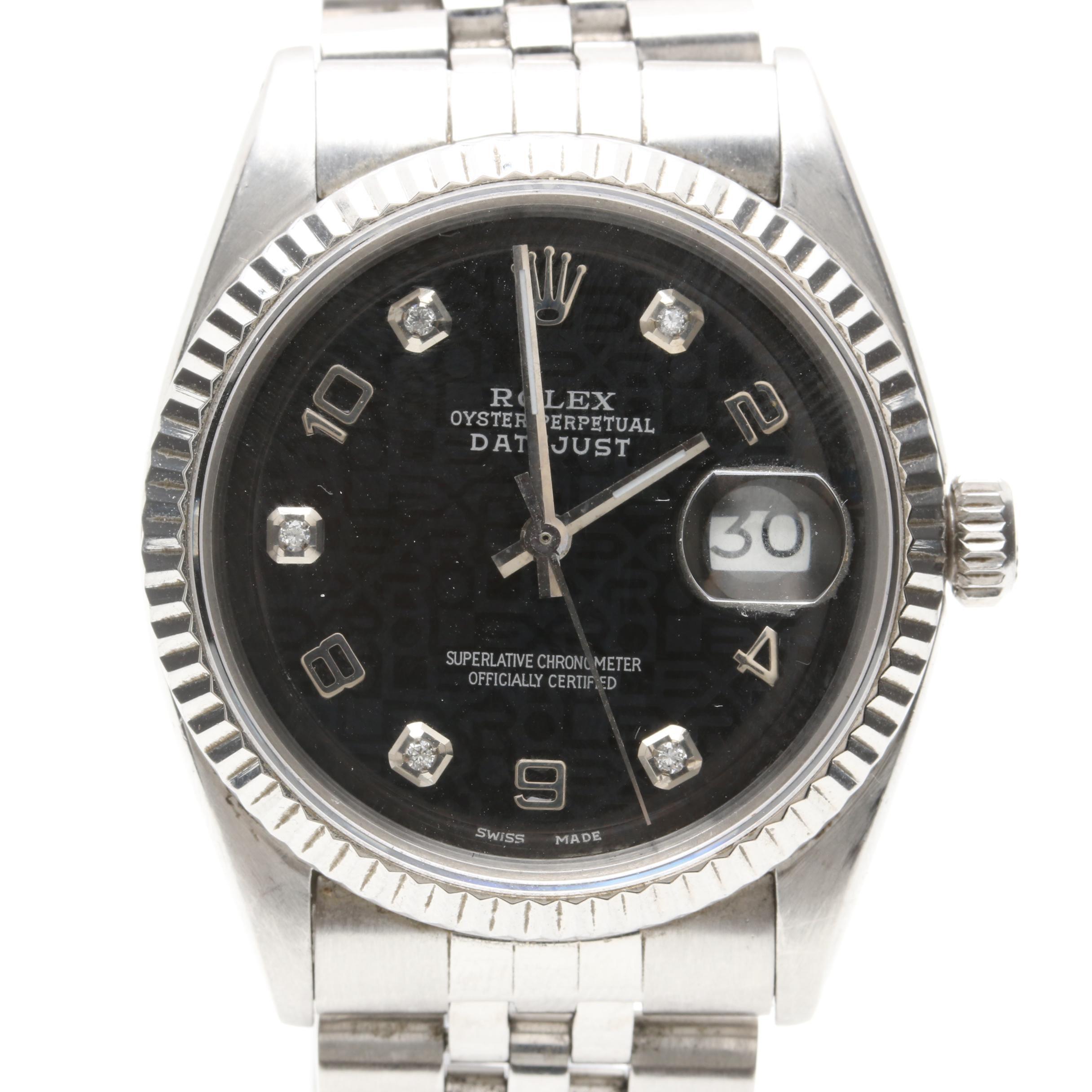 Rolex Datejust Oyster Perpetual Diamond Wristwatch