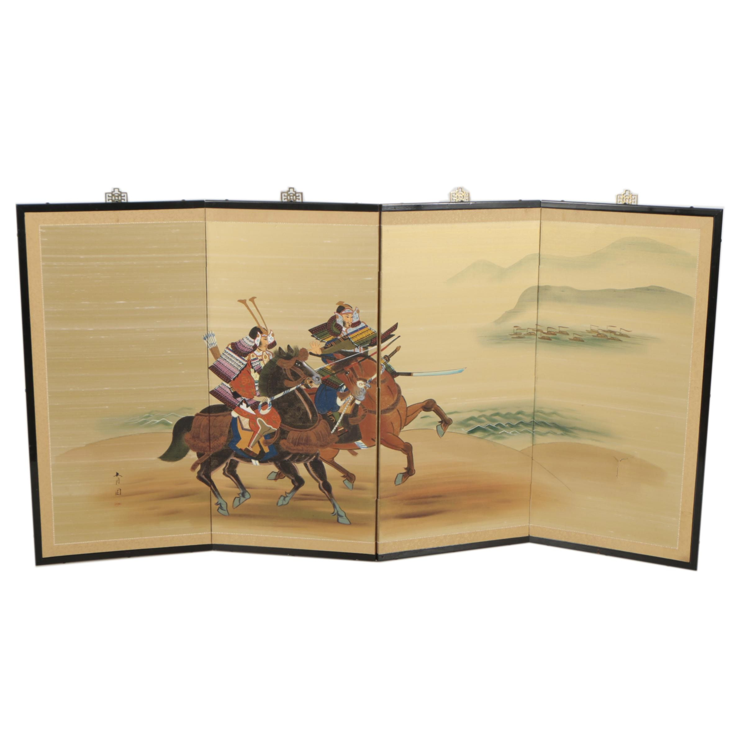 East Asian Style Gouache Painting on Folding Screen