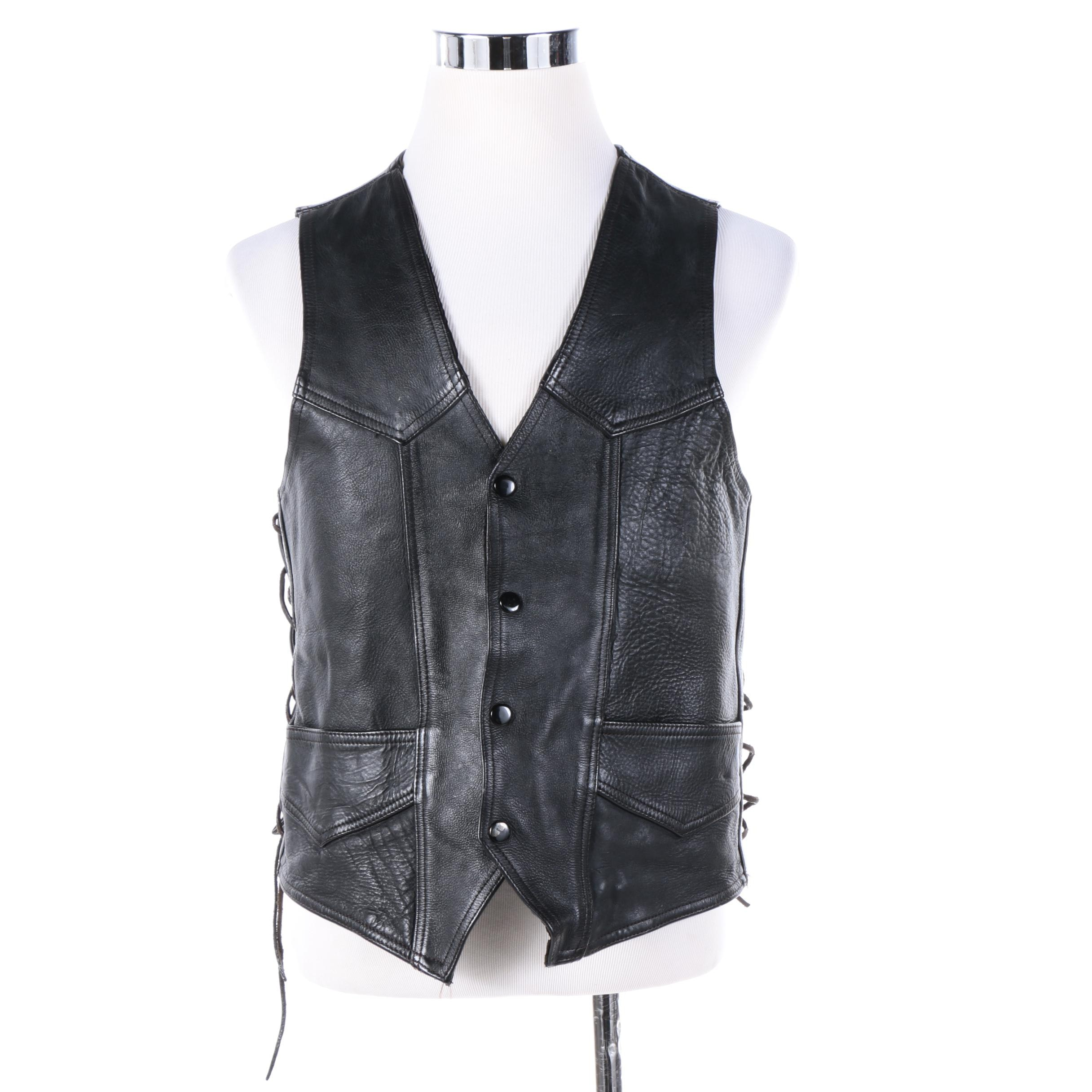 Women's Harley-Davidson Black Leather Vest with Eagle Applique