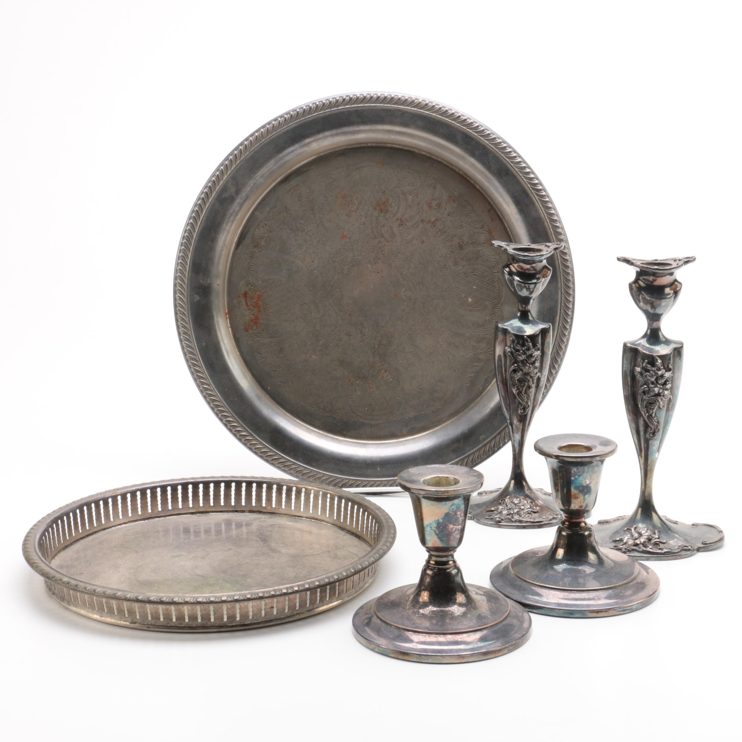 Art Nouveau Style Silver City Plate Candle Holders and Assorted Serveware ...  sc 1 st  EBTH.com & Art Nouveau Style Silver City Plate Candle Holders and Assorted ...