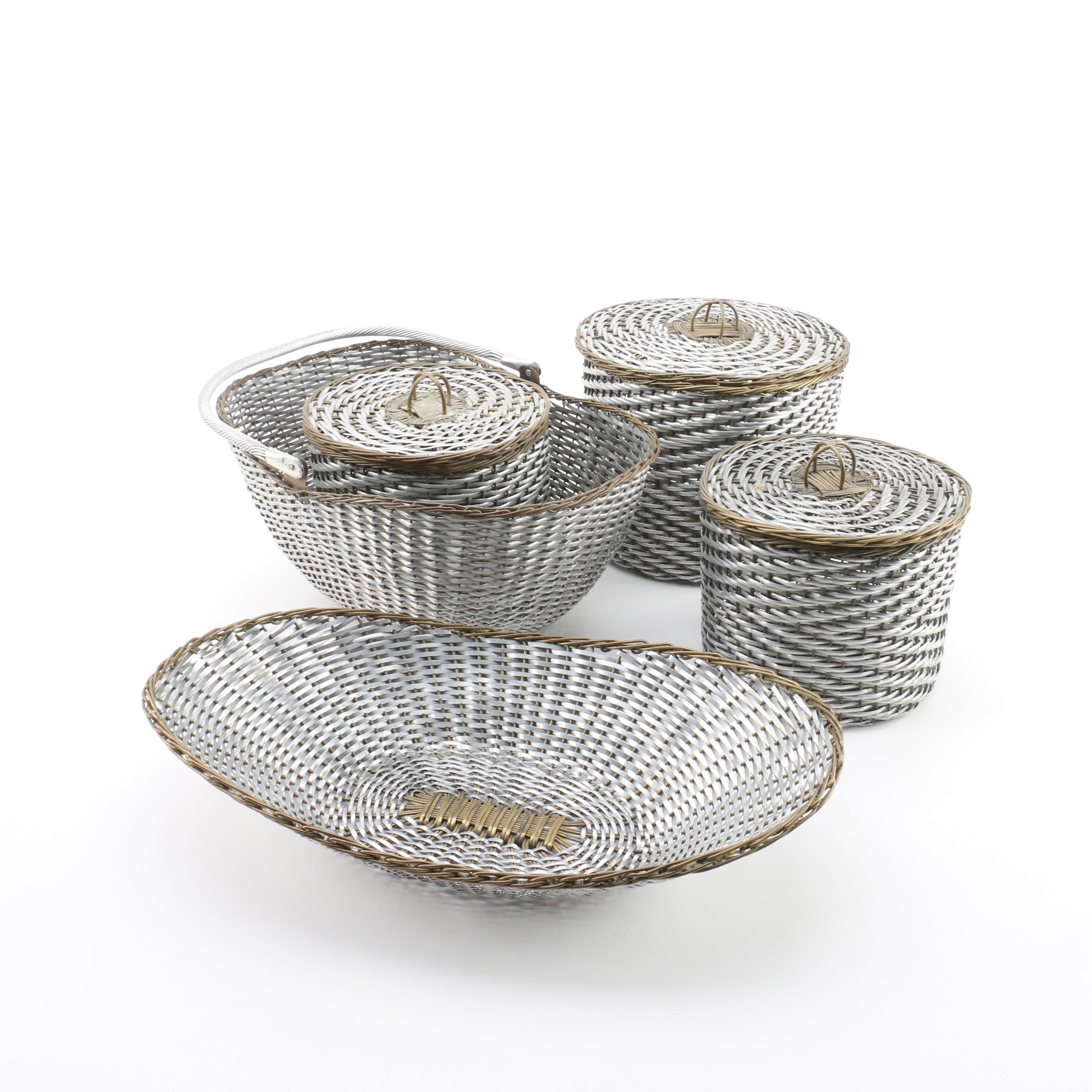 Woven Wicker Silver and Gold Baskets with Lids and Handles