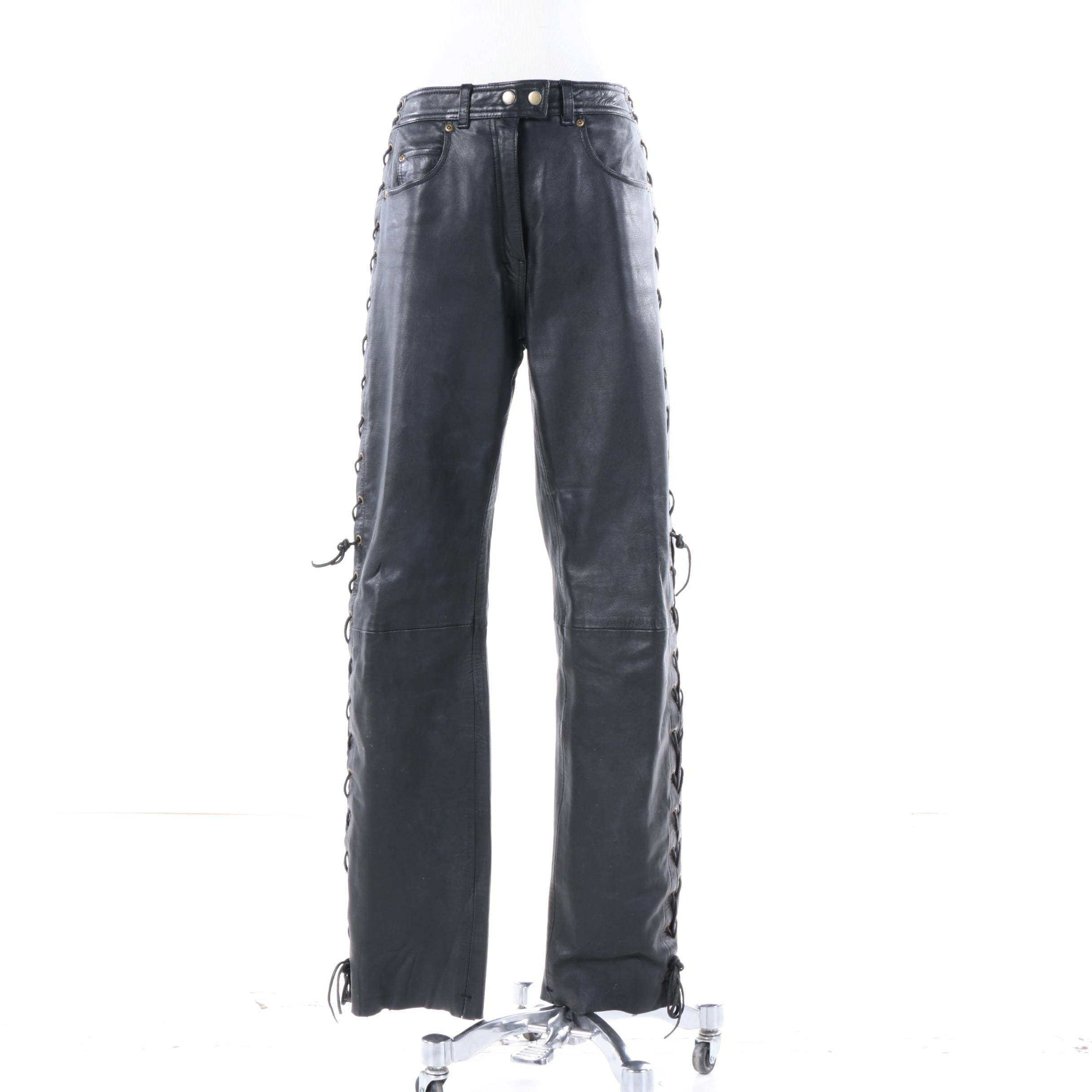 Women's Leather Gallery Black Leather Pants with Lace-Up Grommets