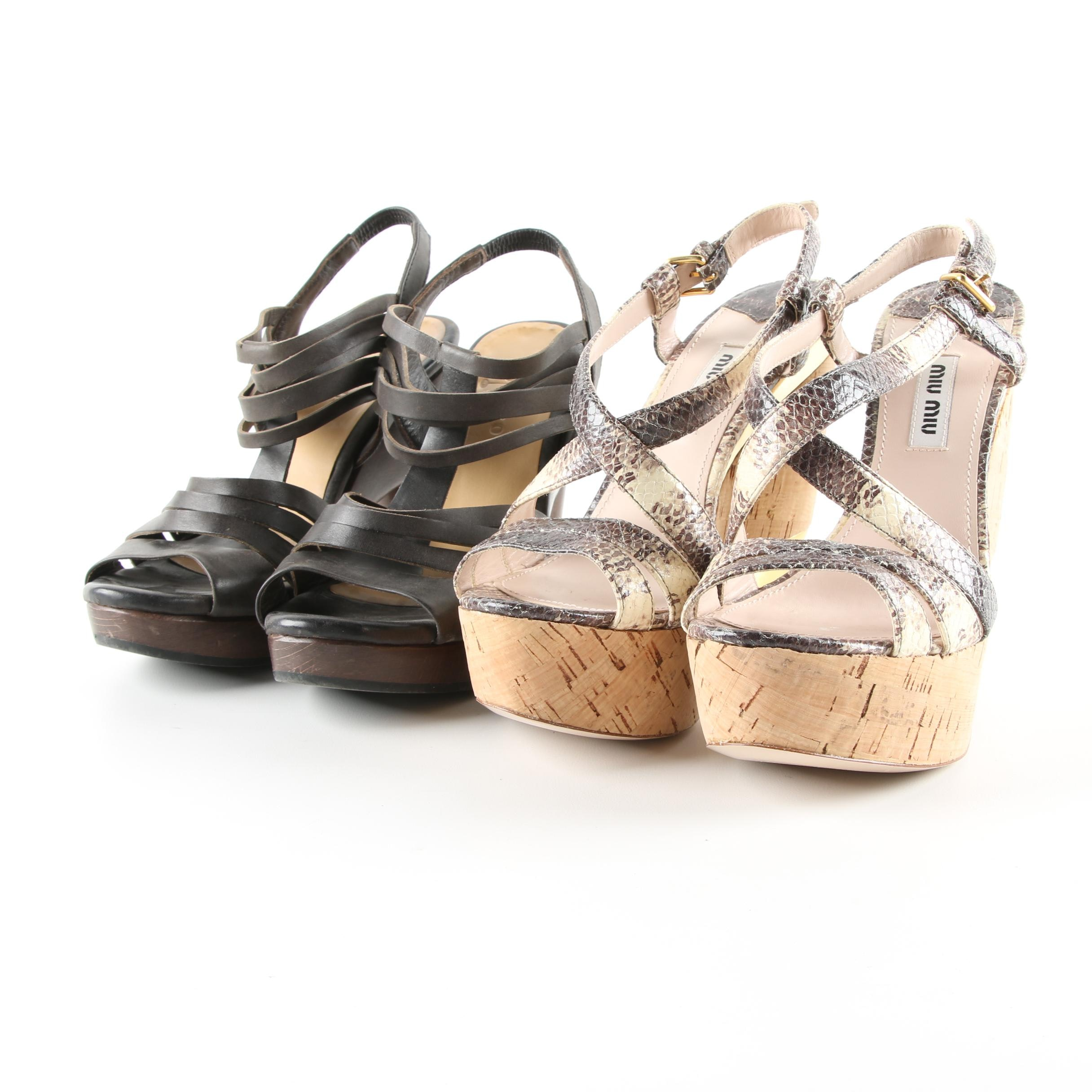 Miu Miu Python and Cork and Coclico Leather and Wood Platform Sandals