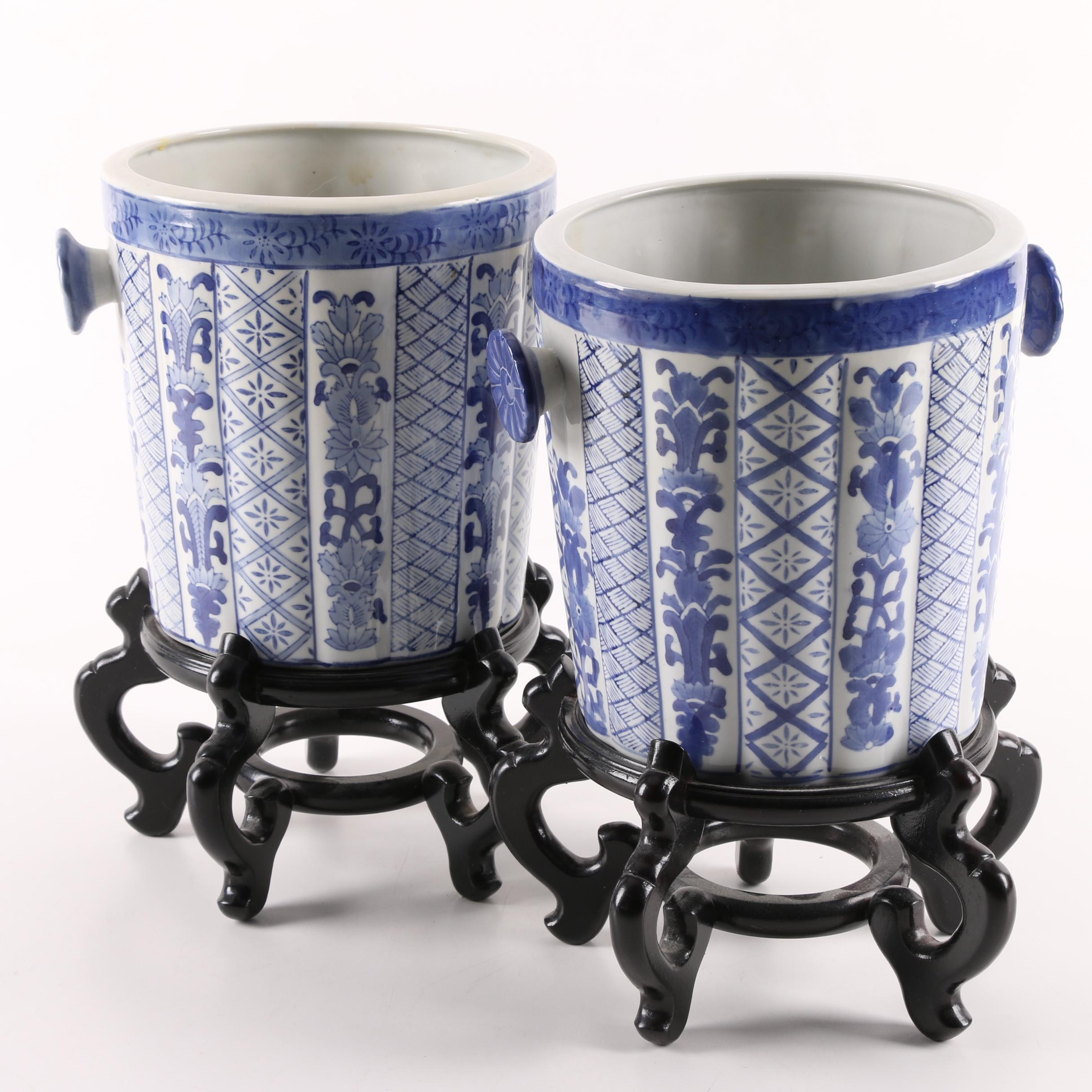 East Asian Blue and White Ceramic Planters with Stands