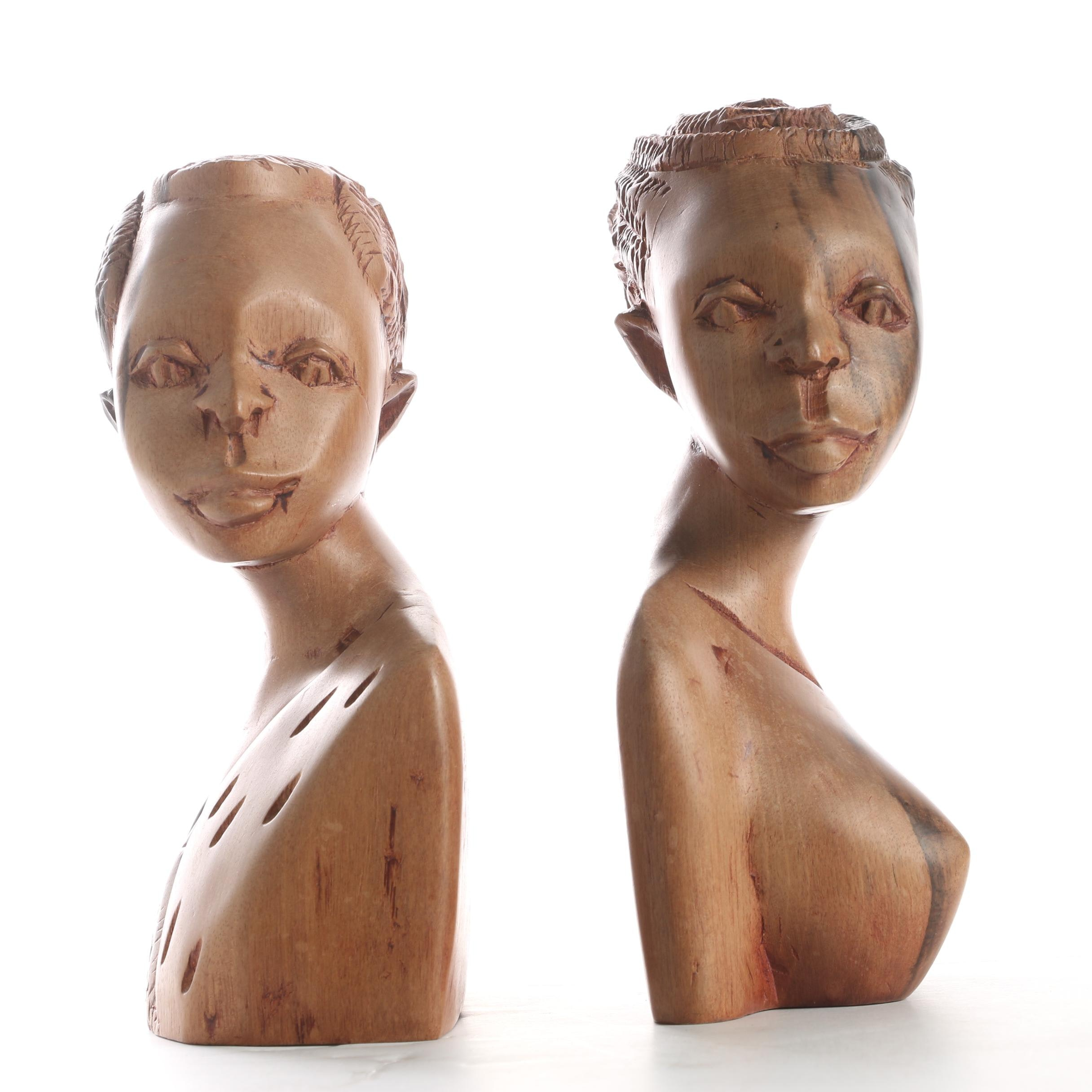 African Style Carved Wooden Sculptures