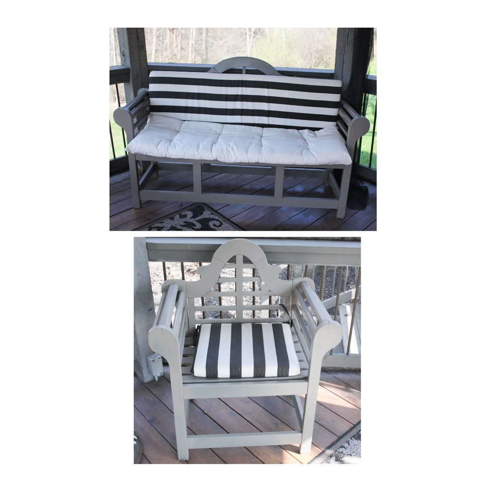 Luytens Inspired Wooden Patio Bench and Chair