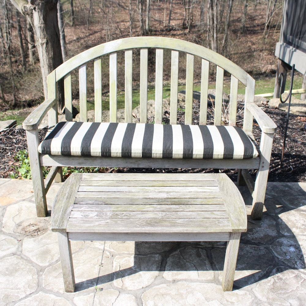 Kingsley-Bate Teak Outdoor Bench and Coffee Table