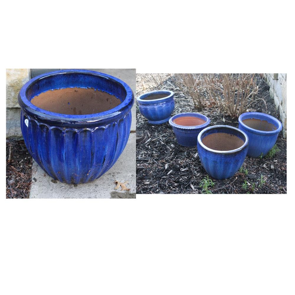 Blue Glazed Planters