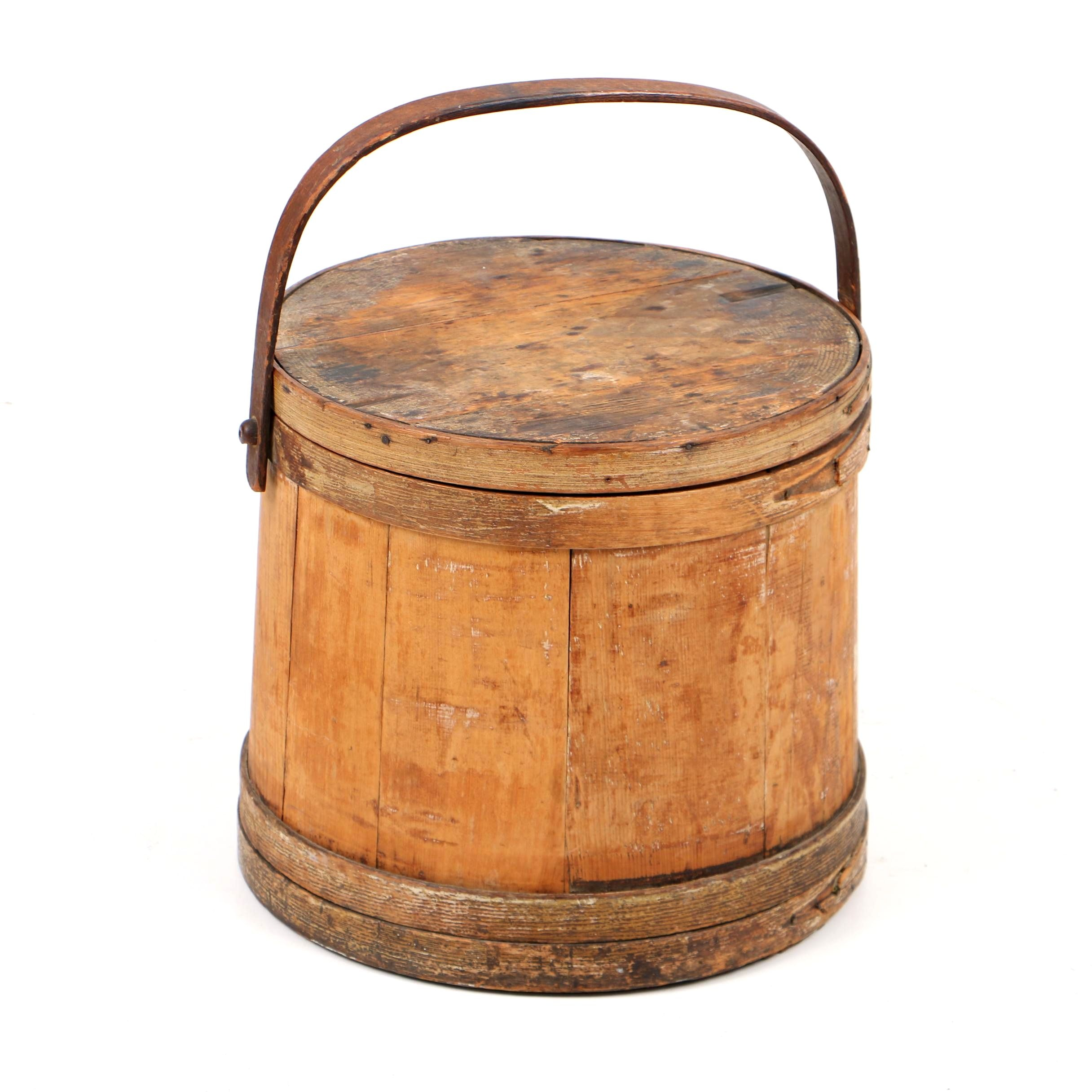 Antique Lidded Firkin, Late 19th Century