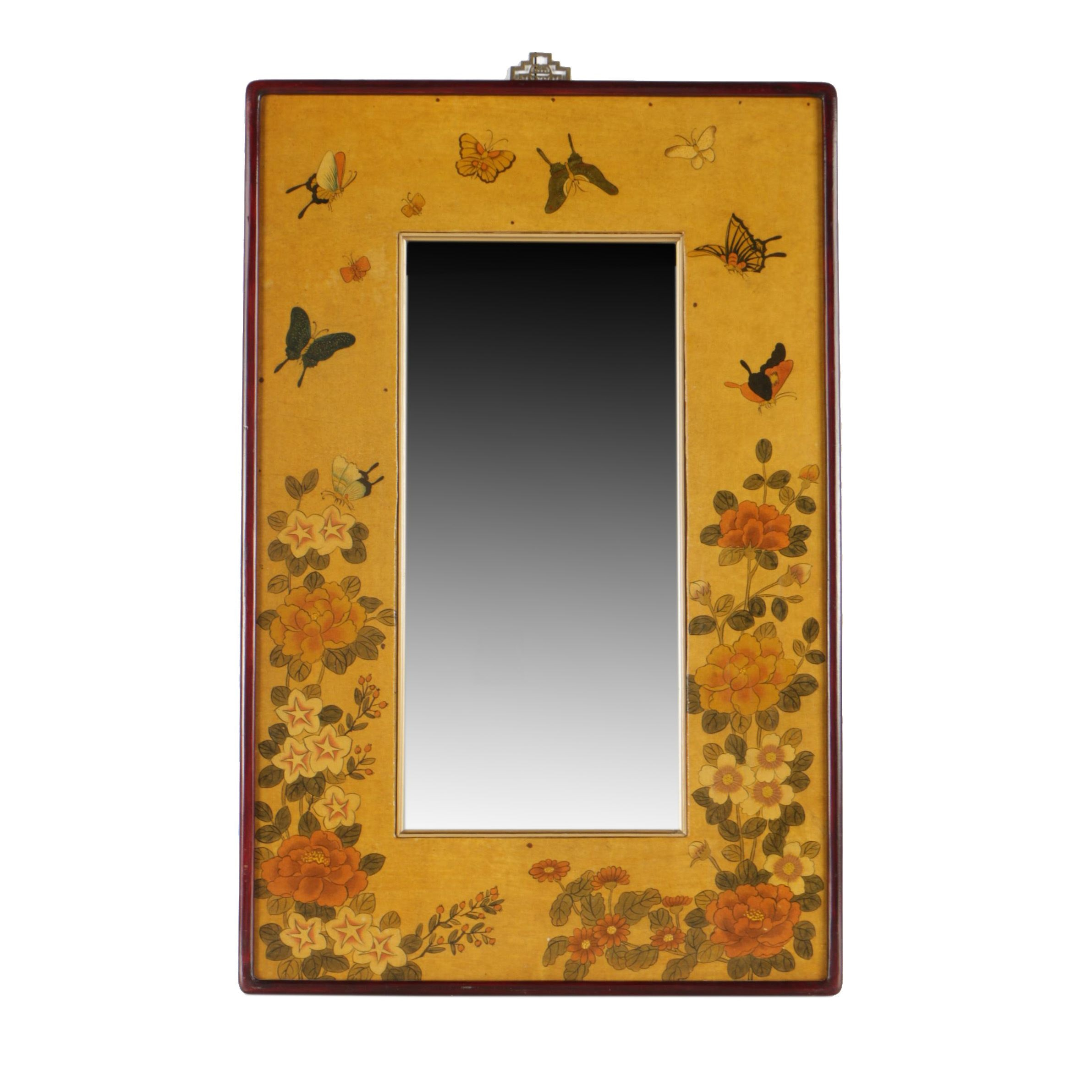 Decorative Floral and Butterfly Themed Wall Mirror