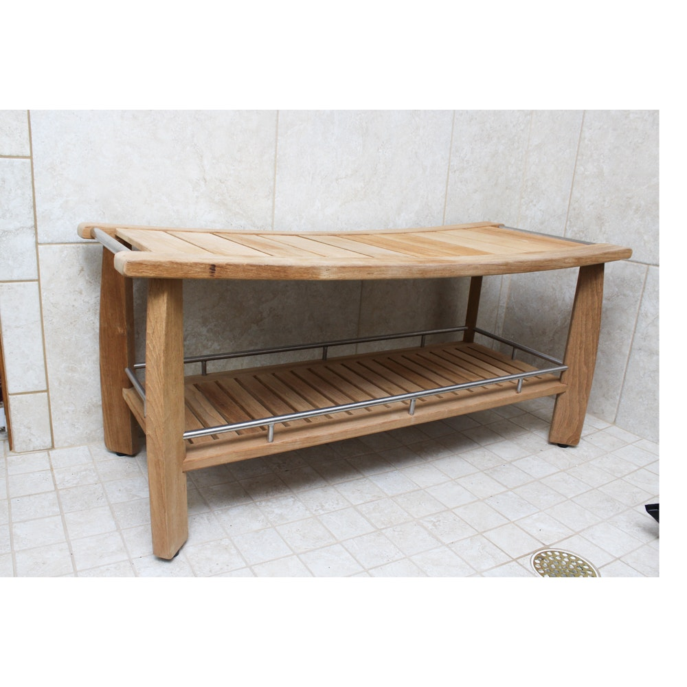 Frontgate Teak Shower Bench with Shelf