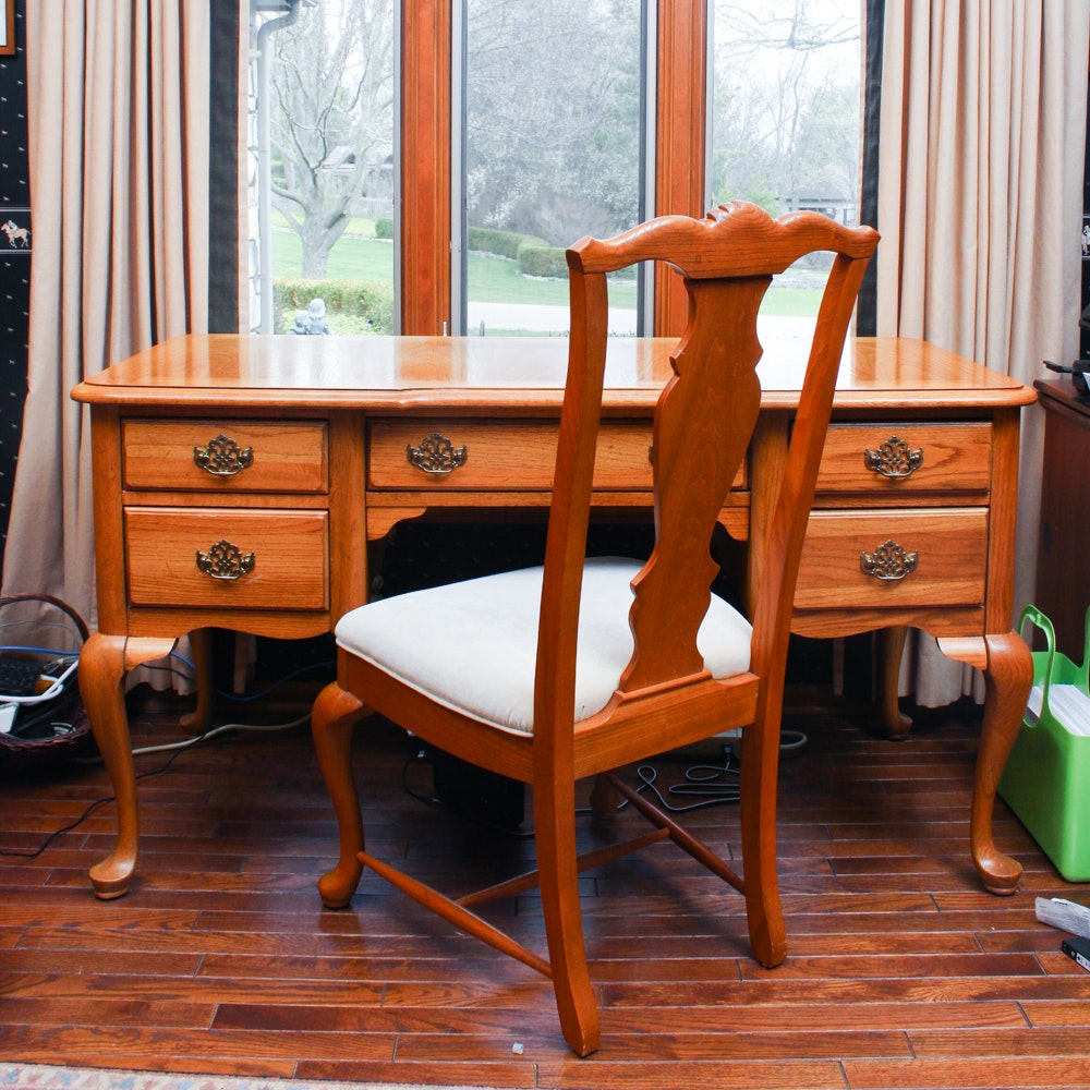 Oak Queen Anne Style Desk and Chair