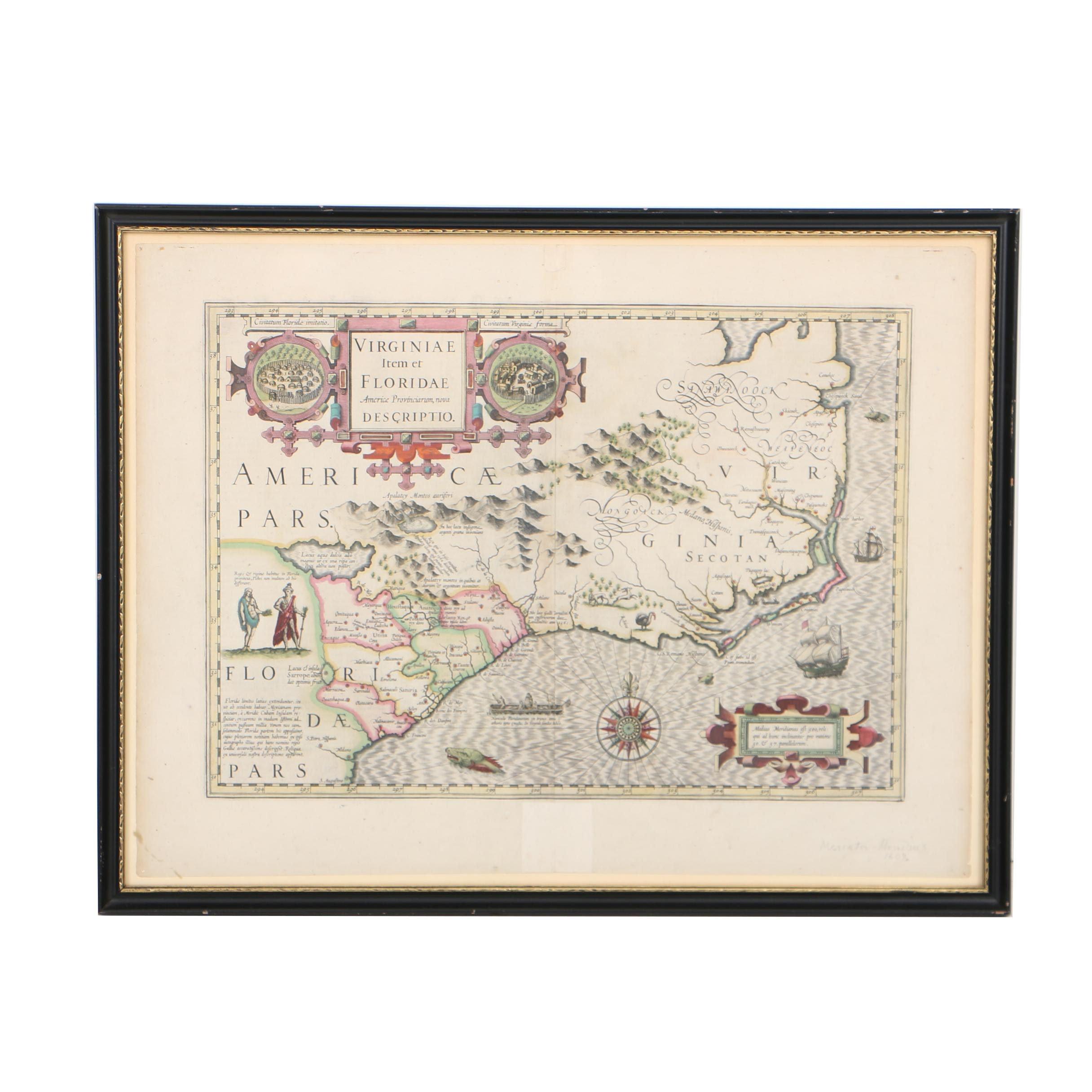 Jocodus Hondius Early 17th-Century Map Engraving of Virginia and the Carolinas