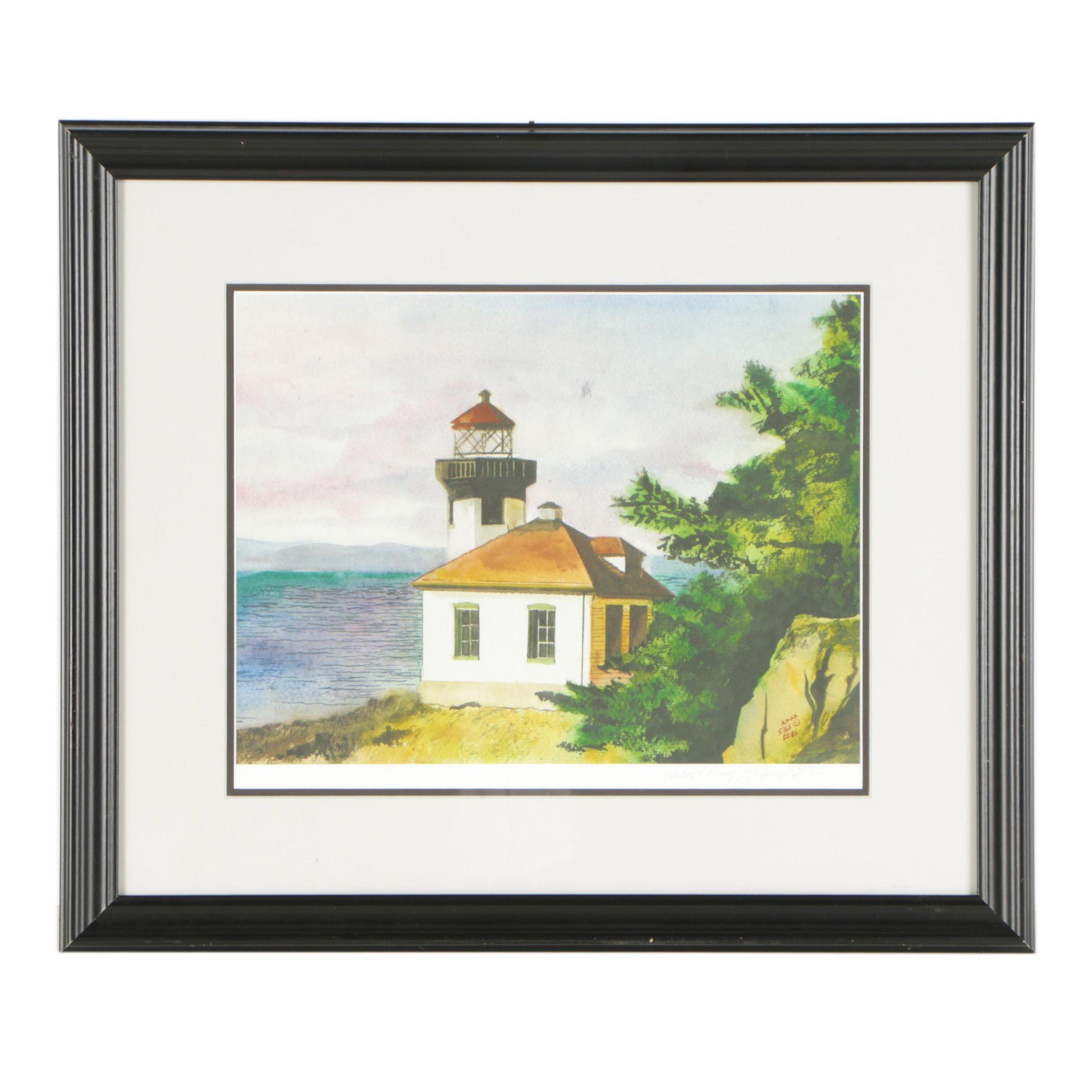 Steve Estes 2002 Artist's Proof Giclée of Coastal Landscape with Lighthouse