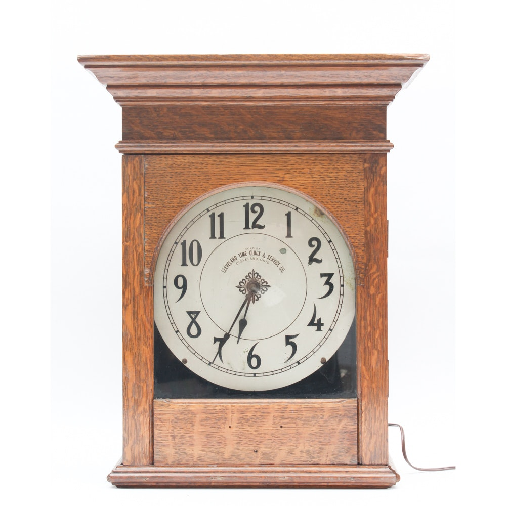 Antique Wall Clock by Cleveland Time Clock and Service Co.