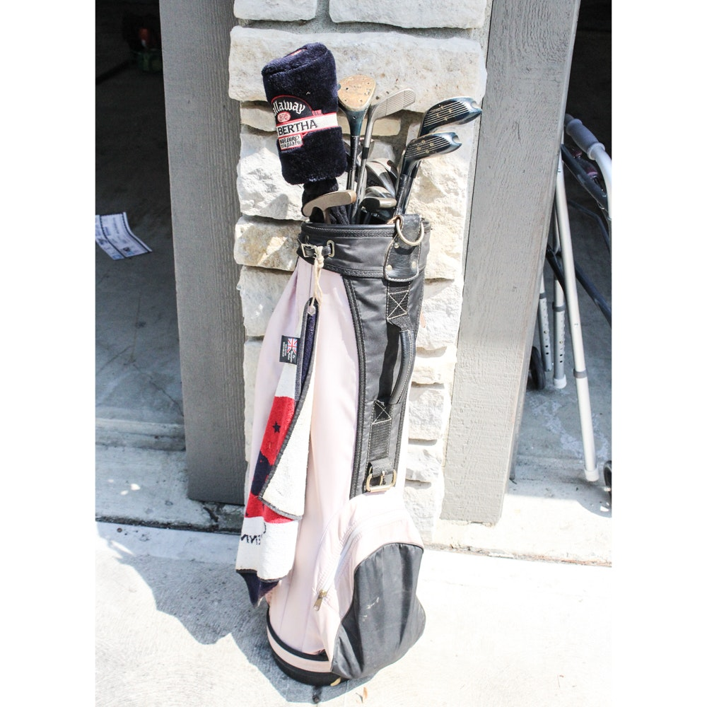 Golf Bag and Clubs Featuring Calloway