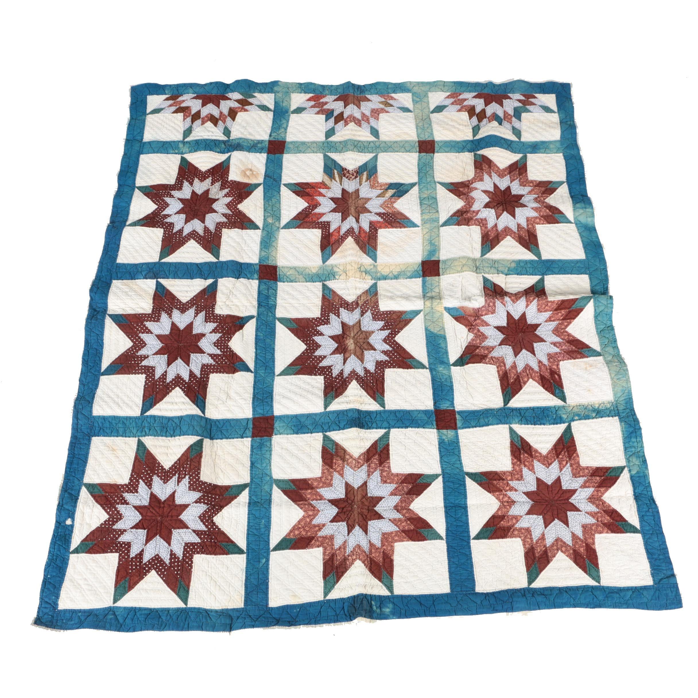 """Vintage Handmade """"Lone Star"""" Pieced Quilt"""