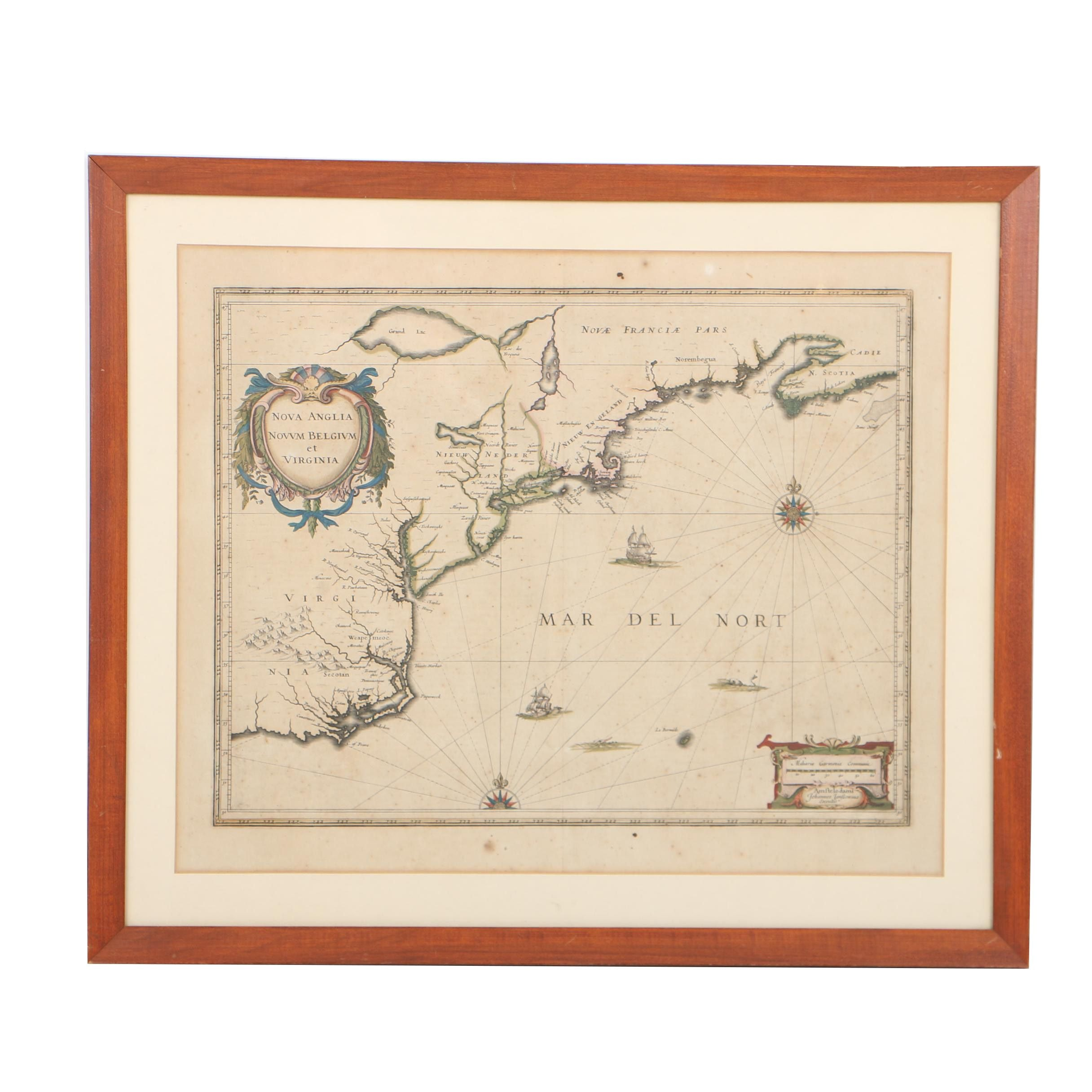 Jan Jansson 17th-Century Hand-Colored Map Engraving of North American East Coast