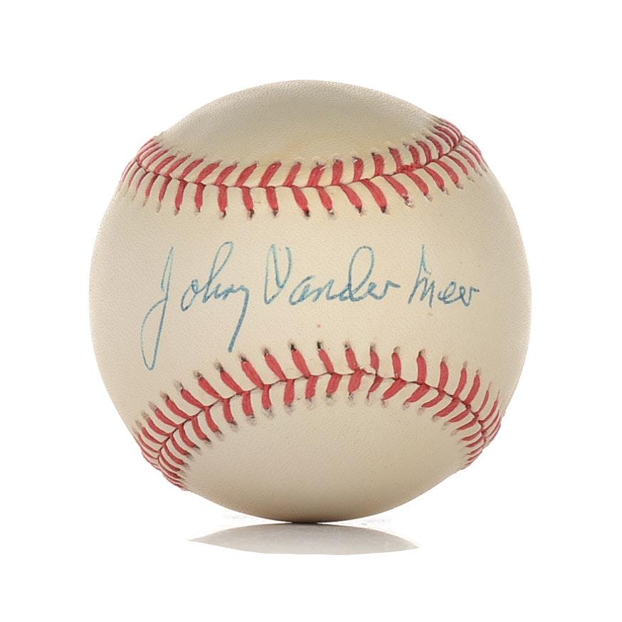 Johnny Vander Meer Signed Baseball  Visual  COA