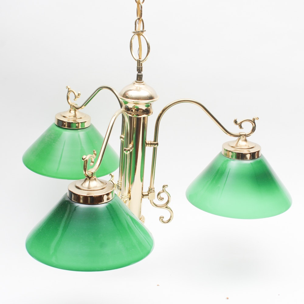 Brass Hanging Light with Cased Glass Shades